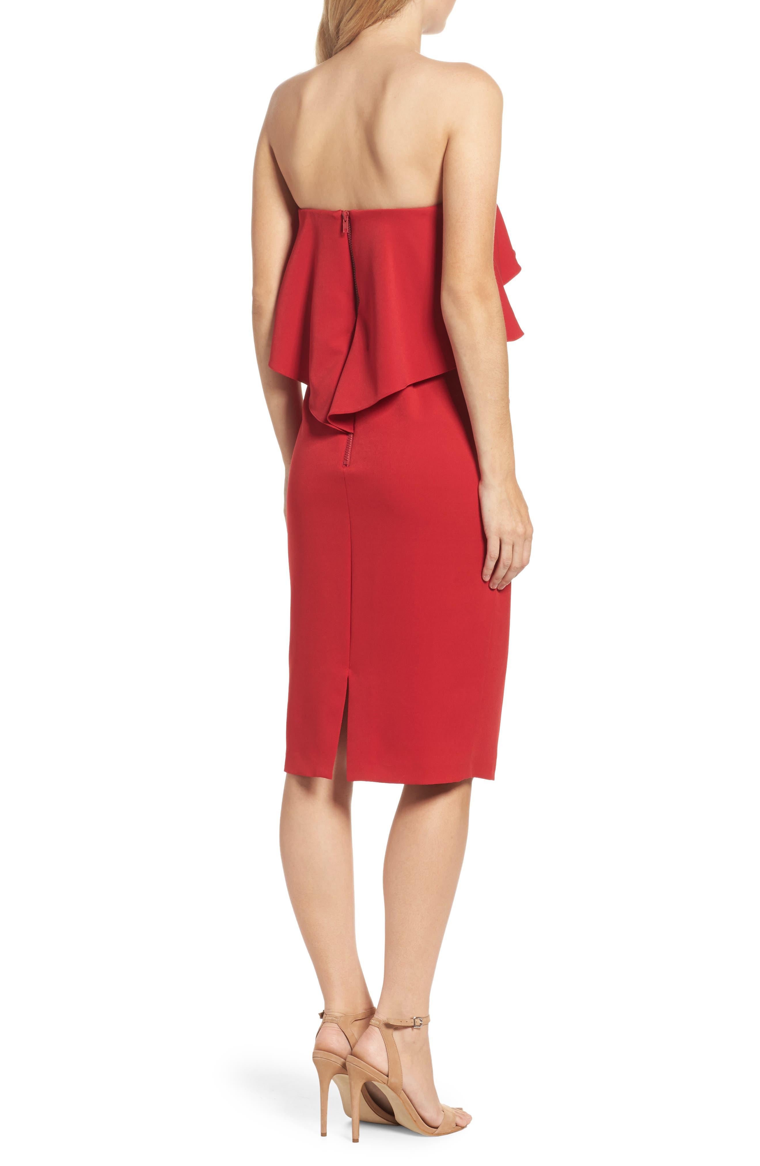 Ruffle Stretch Crepe Sheath Dress,                             Alternate thumbnail 10, color,
