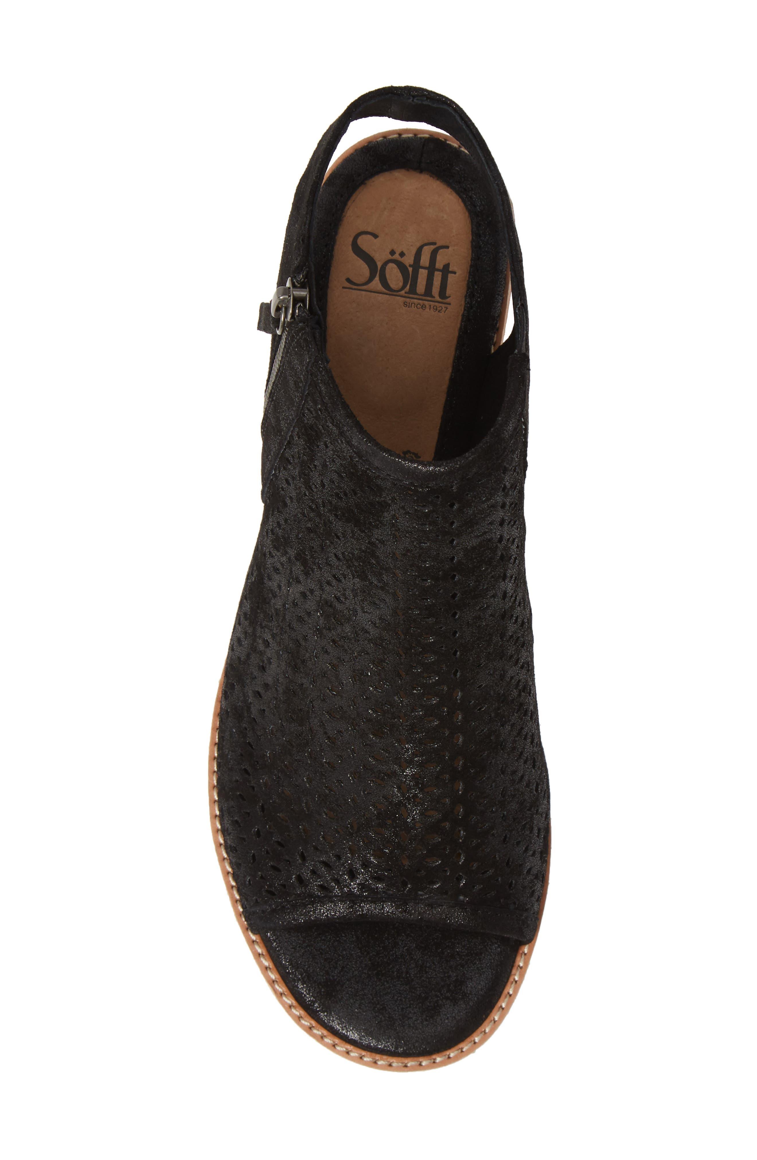 Natesa Perforated Sandal,                             Alternate thumbnail 5, color,                             BLACK SUEDE