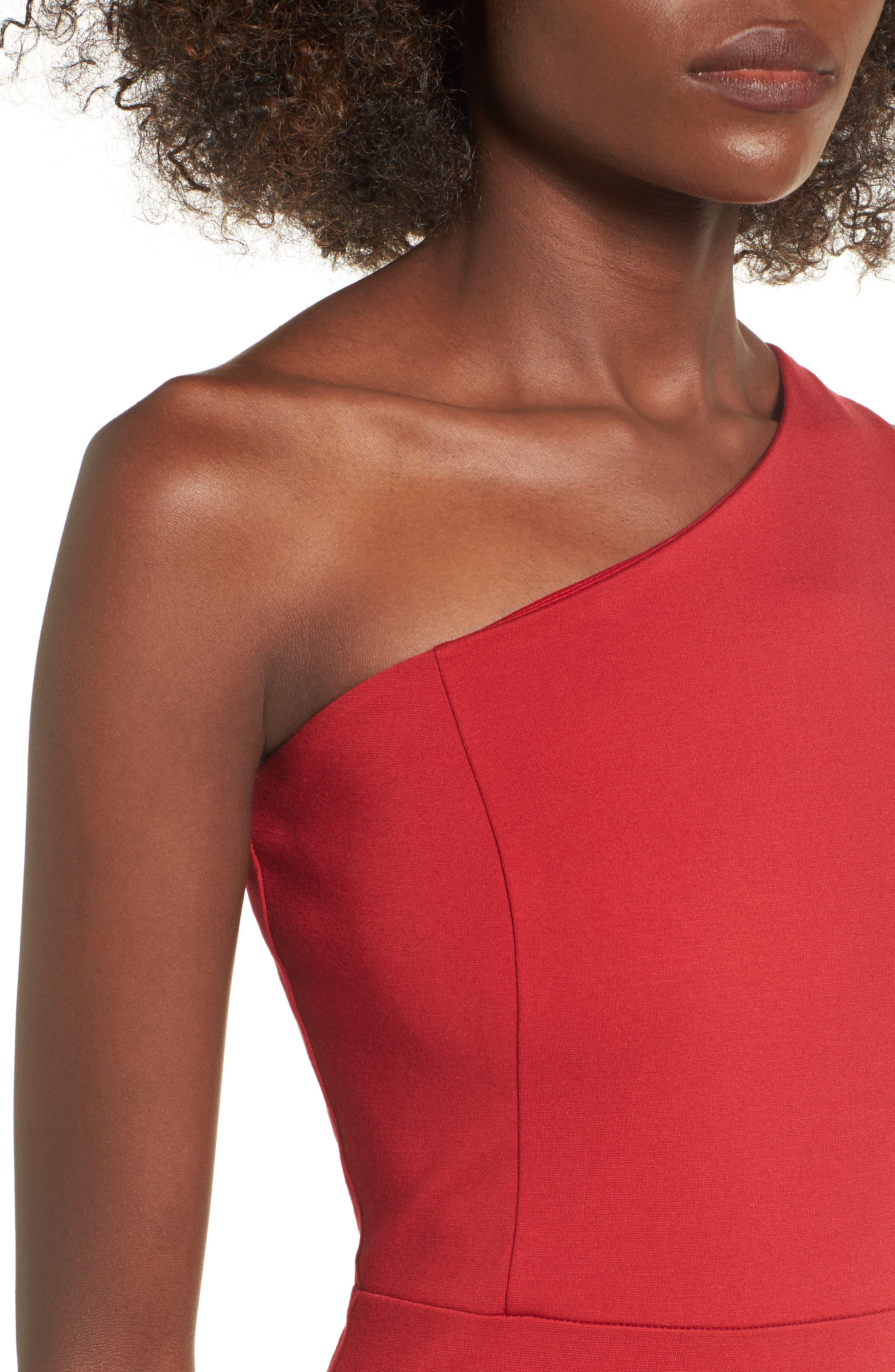 One-Shoulder Body-Con Dress,                             Alternate thumbnail 12, color,