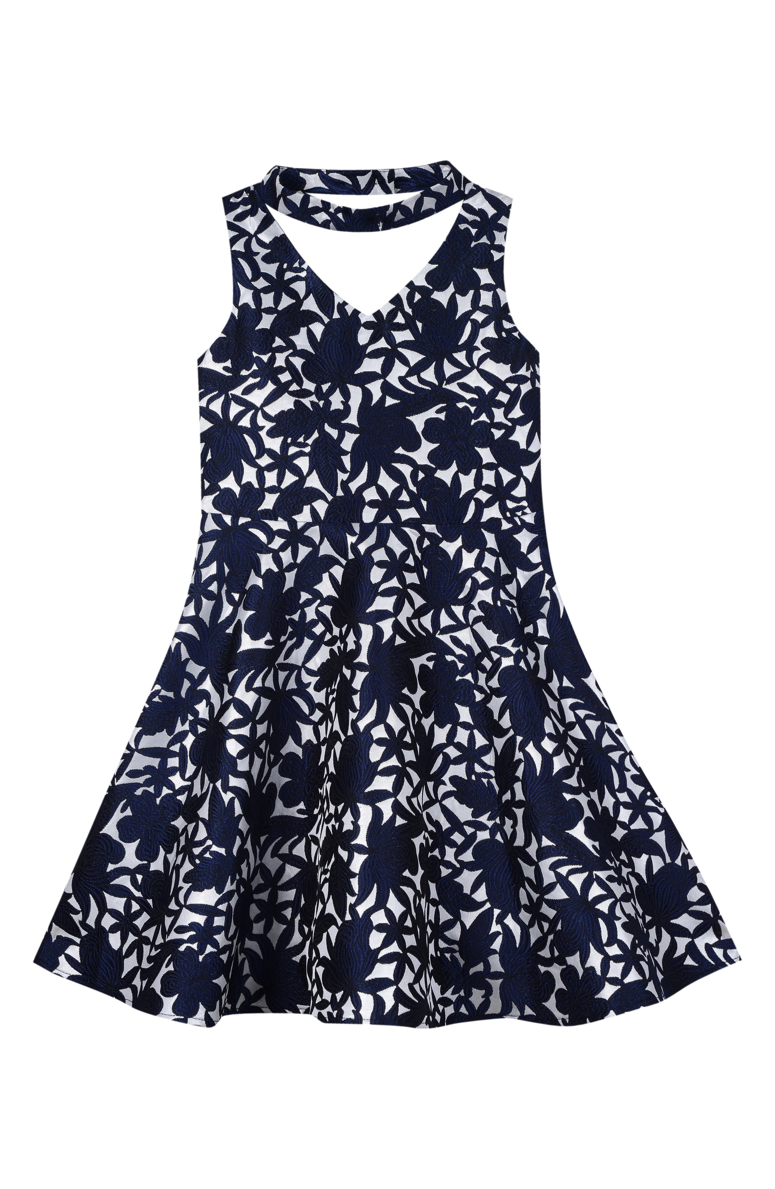 Floral Skater Dress,                             Main thumbnail 1, color,                             417