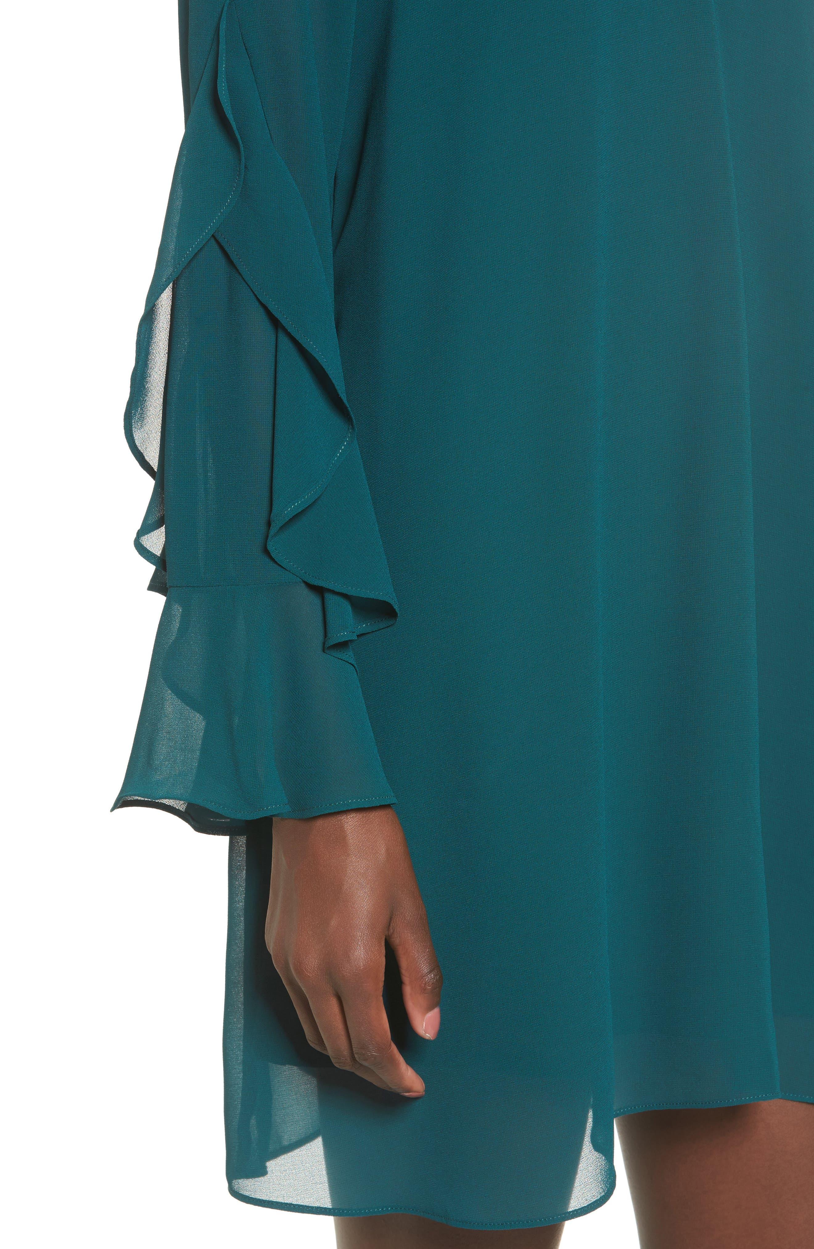 Ruffle Sleeve Shift Dress,                             Alternate thumbnail 13, color,