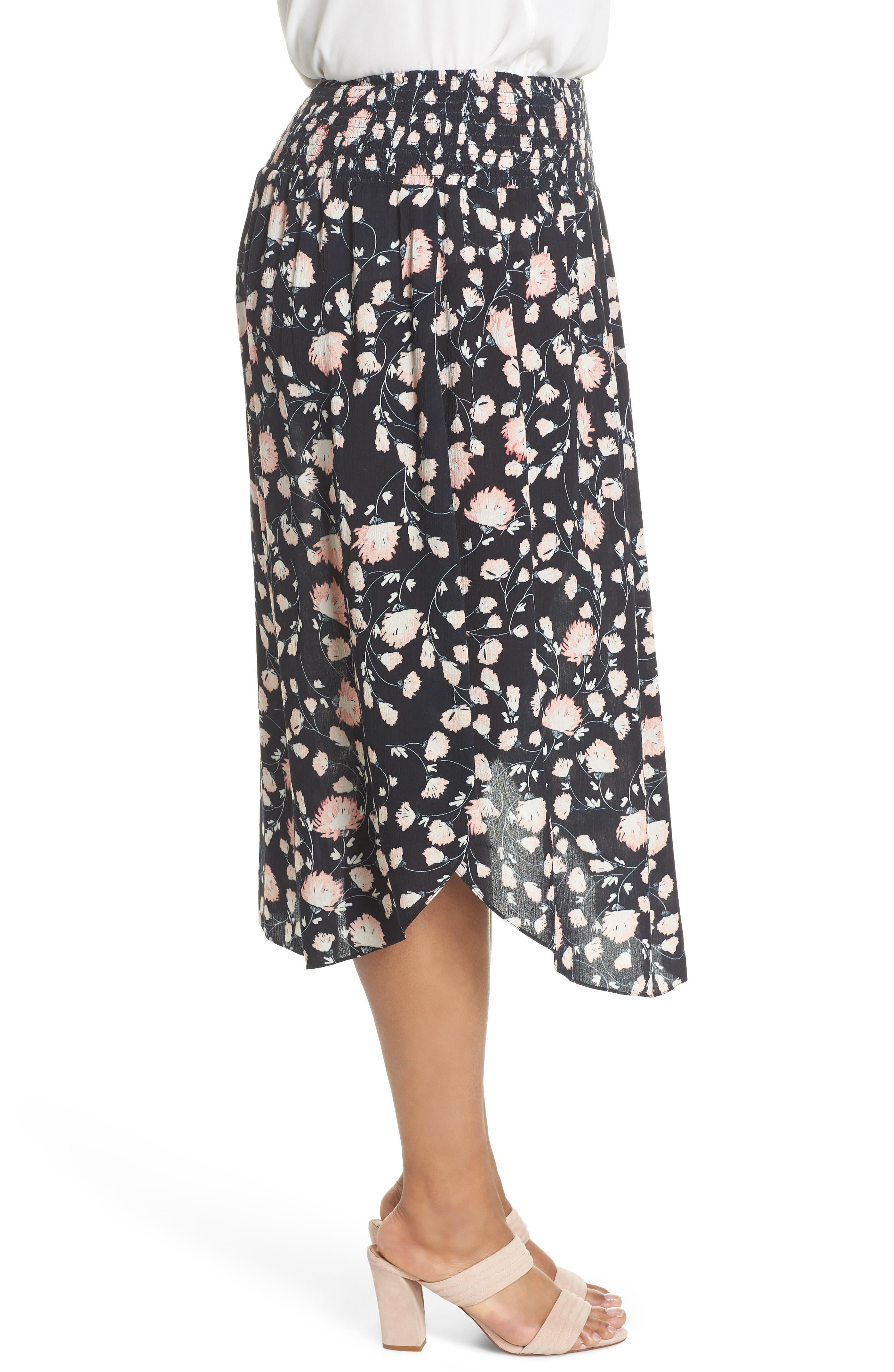 Smocked Waist Skirt,                             Alternate thumbnail 3, color,                             002
