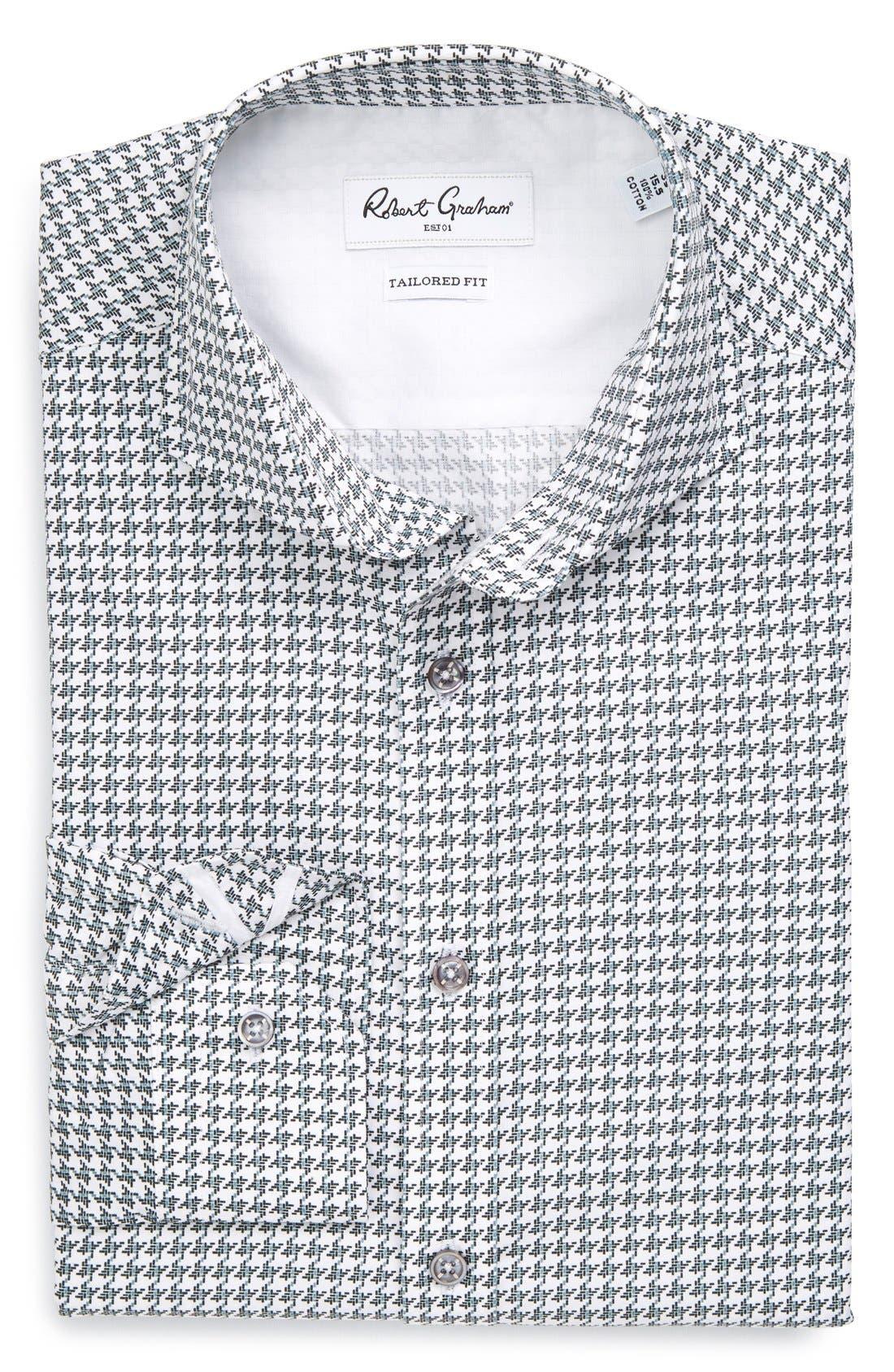 ROBERT GRAHAM 'Tavo' Tailored Fit Houndstooth Dress Shirt, Main, color, 001