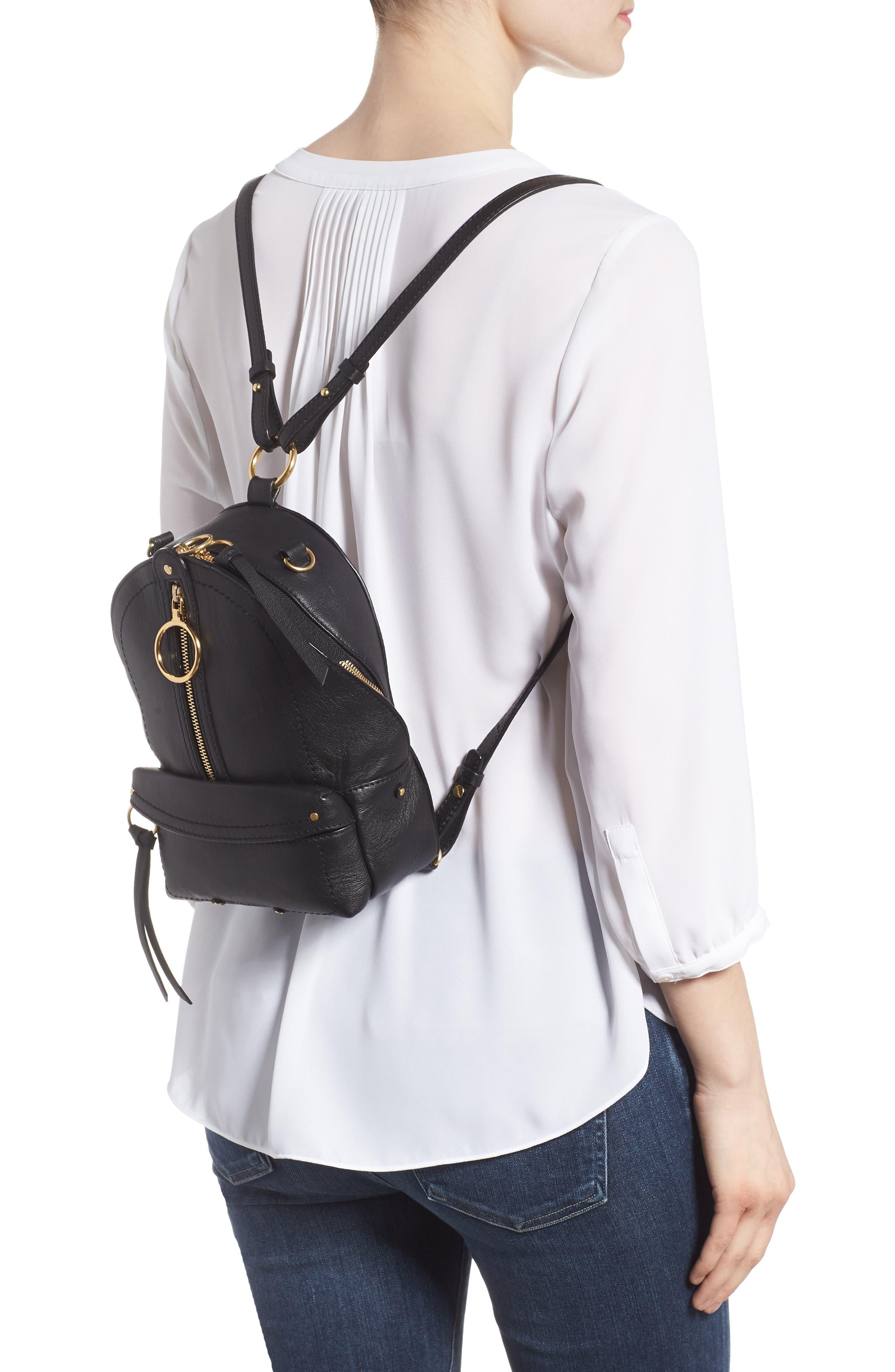 Mini Mino Leather Backpack,                             Alternate thumbnail 2, color,                             BLACK