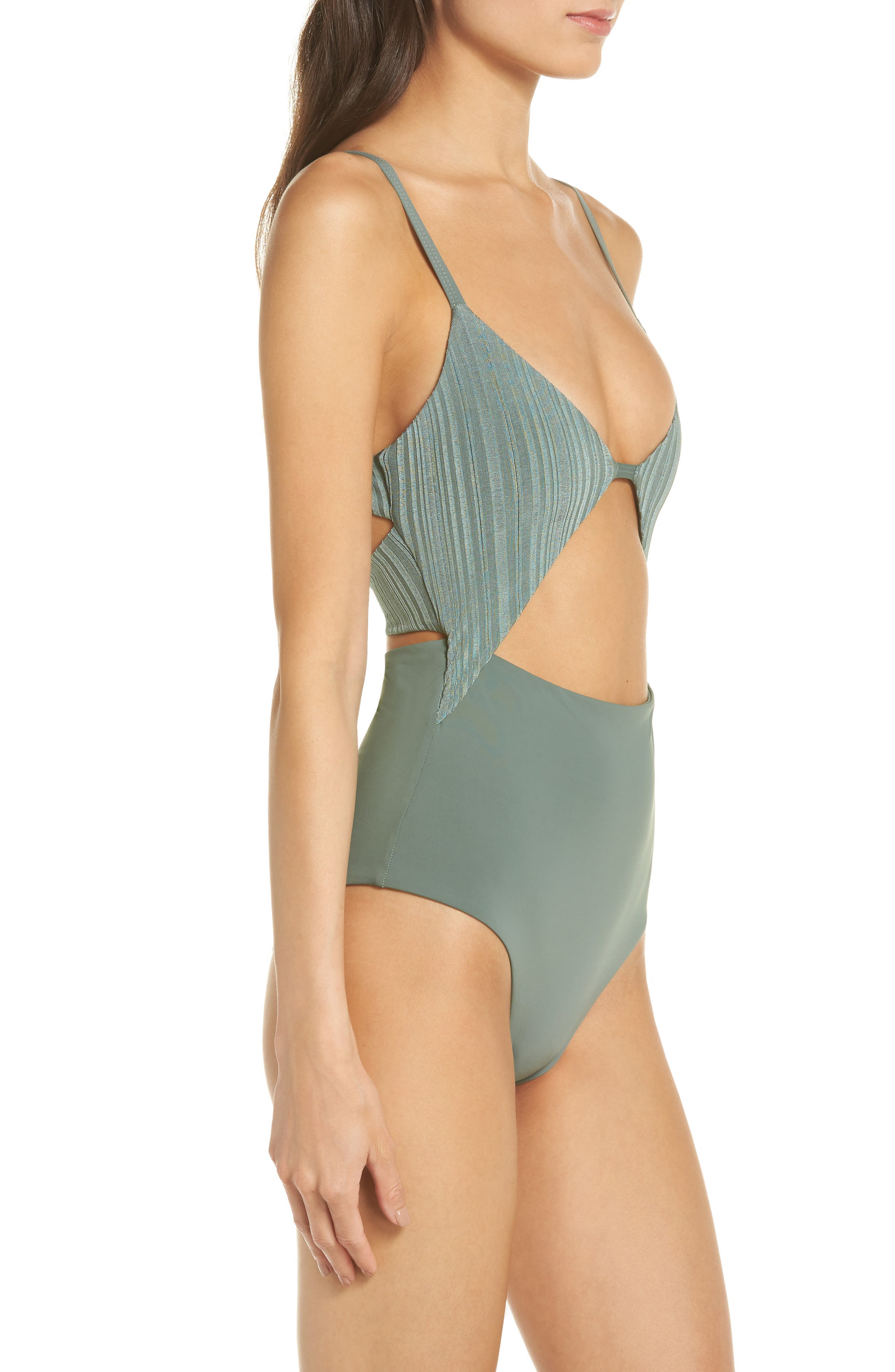 Penelope Cutout One-Piece Swimsuit,                             Alternate thumbnail 3, color,                             MEADOW GREEN