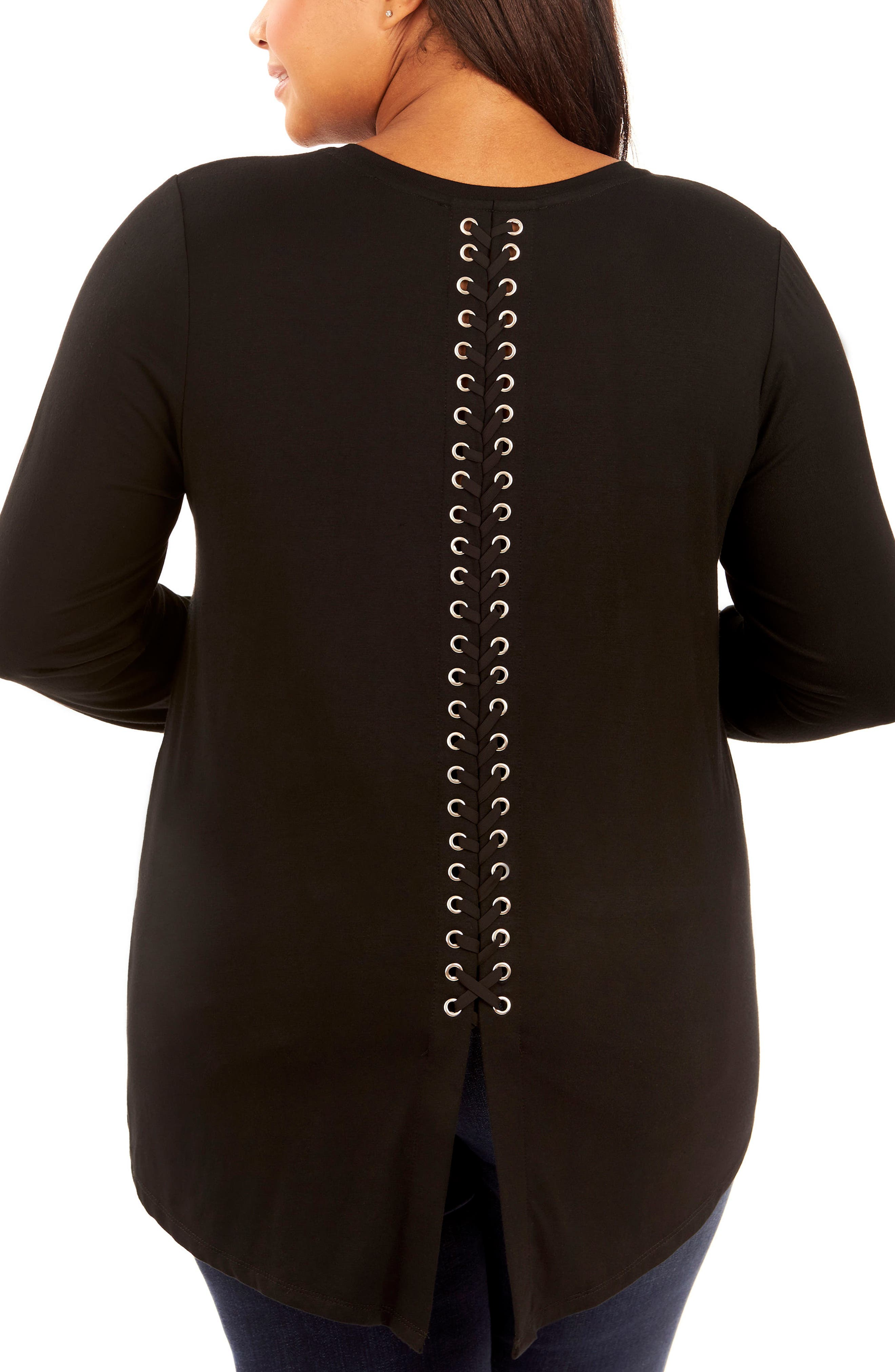 Lace-Up Back Top,                             Alternate thumbnail 2, color,                             002