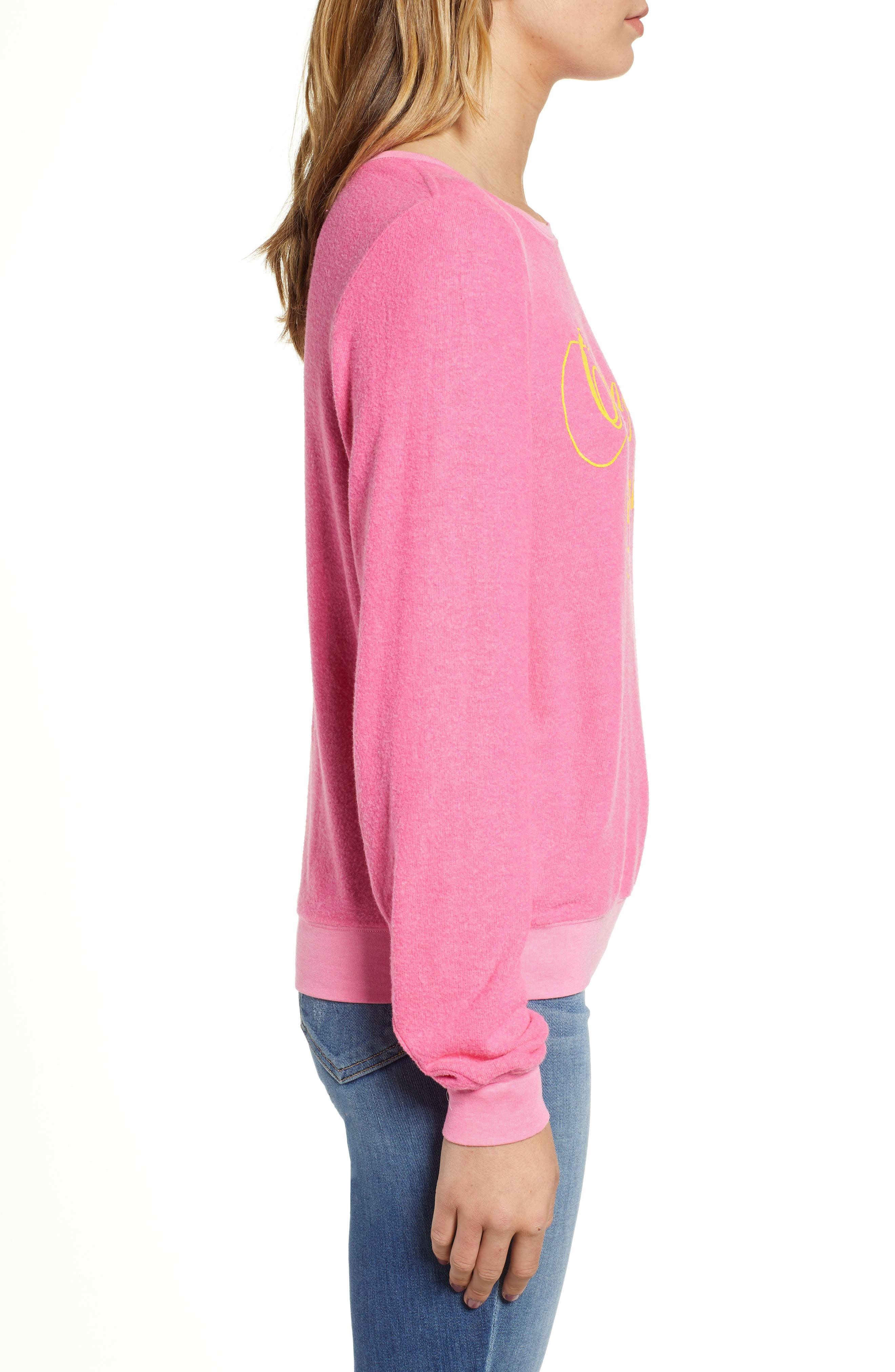 WILDFOX,                             Baggy Beach Jumper - Champagne Superhero Pullover,                             Alternate thumbnail 3, color,                             650