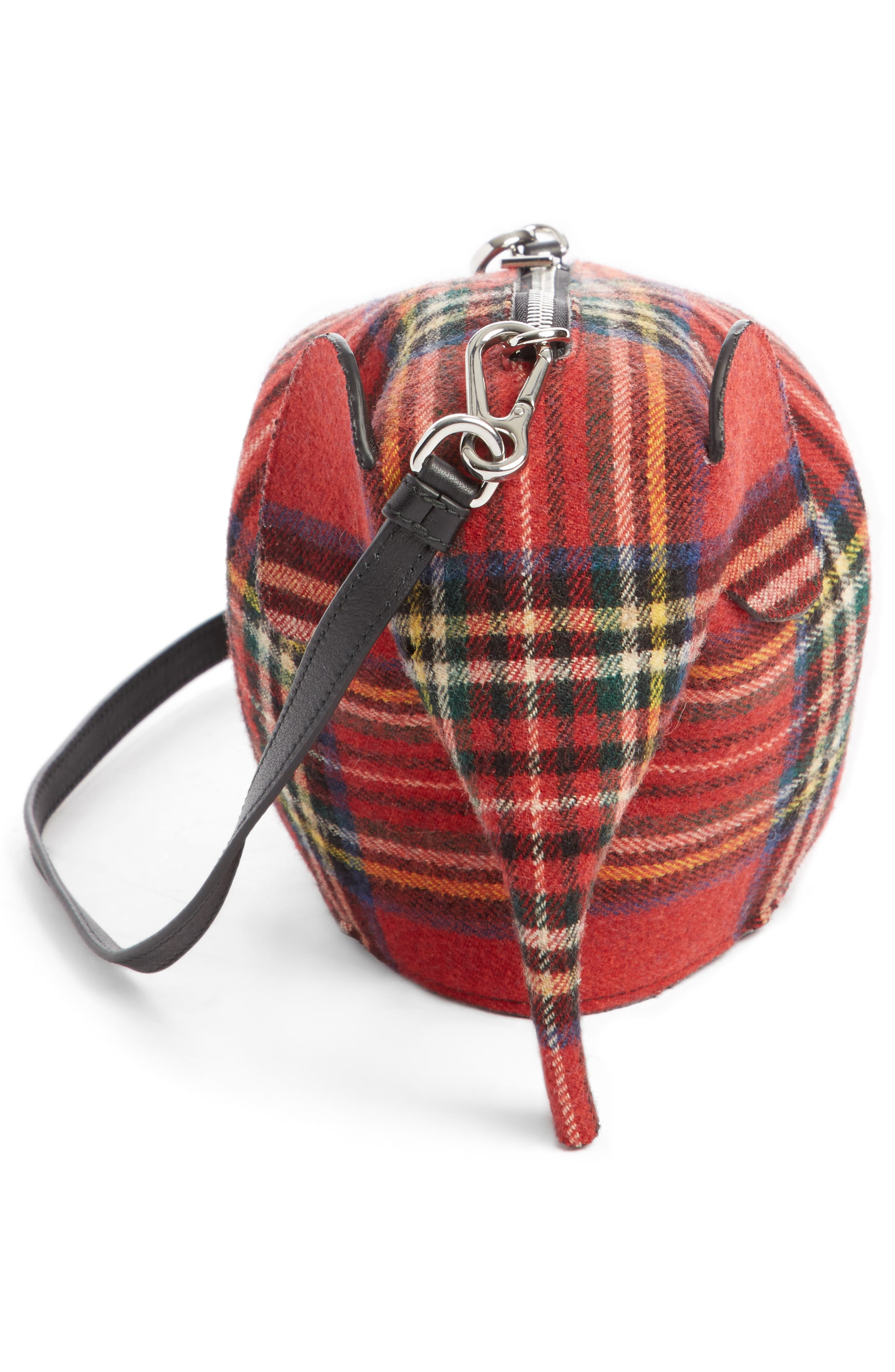 Mini Elephant Tartan Wool Crossbody Bag,                             Alternate thumbnail 3, color,                             614