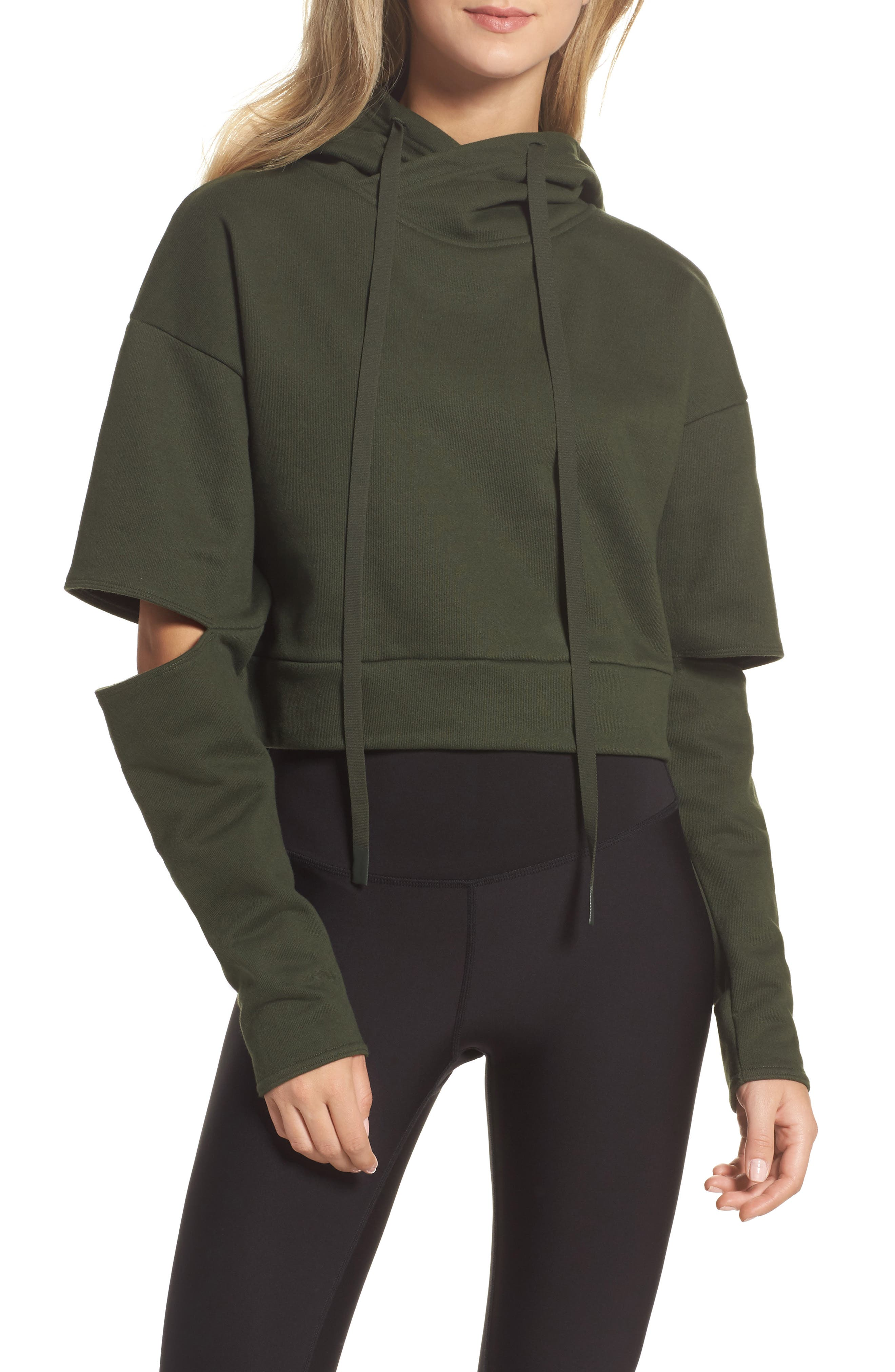 Peak Cutout Long Sleeve Pullover Crop Hoodie,                             Main thumbnail 3, color,