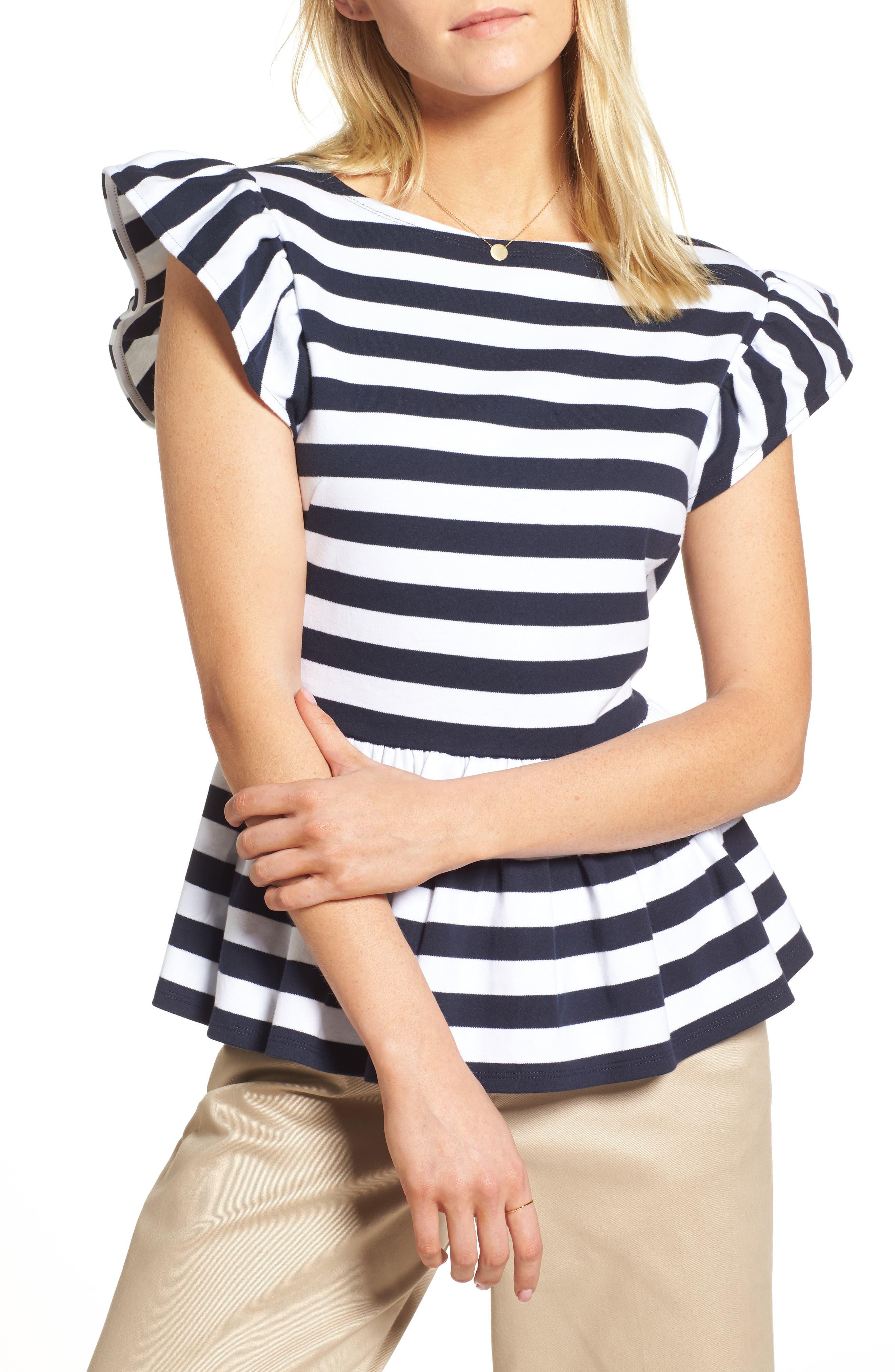 Stripe Knit Peplum Top,                             Main thumbnail 2, color,