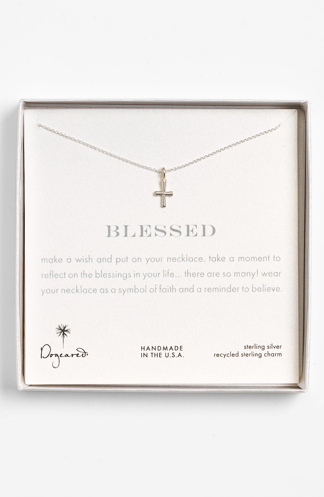 'Blessed' Cross Pendant Necklace, Main, color, 040