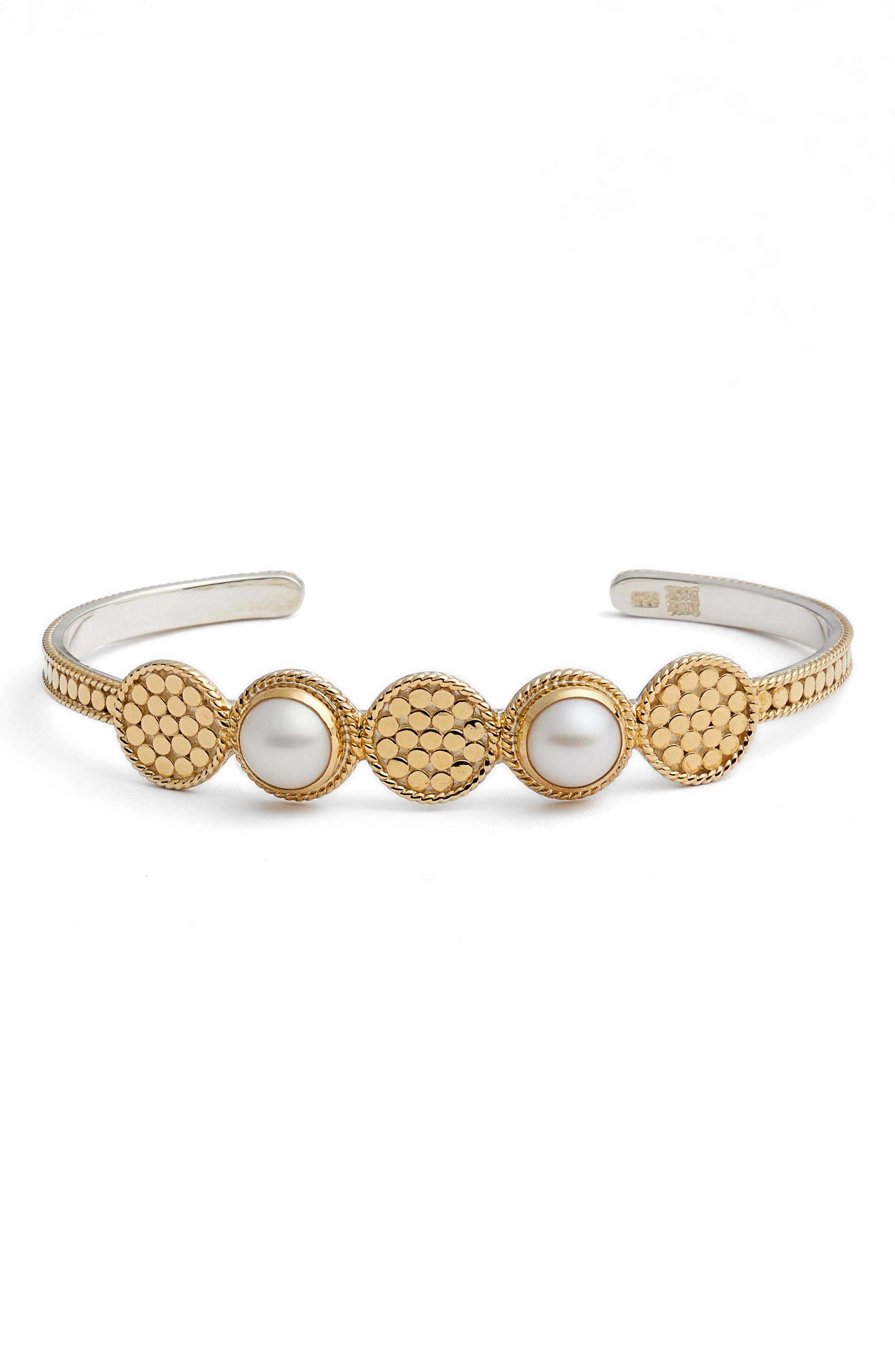 Pearl Multidisc Cuff Bracelet,                         Main,                         color, GOLD/ PEARL