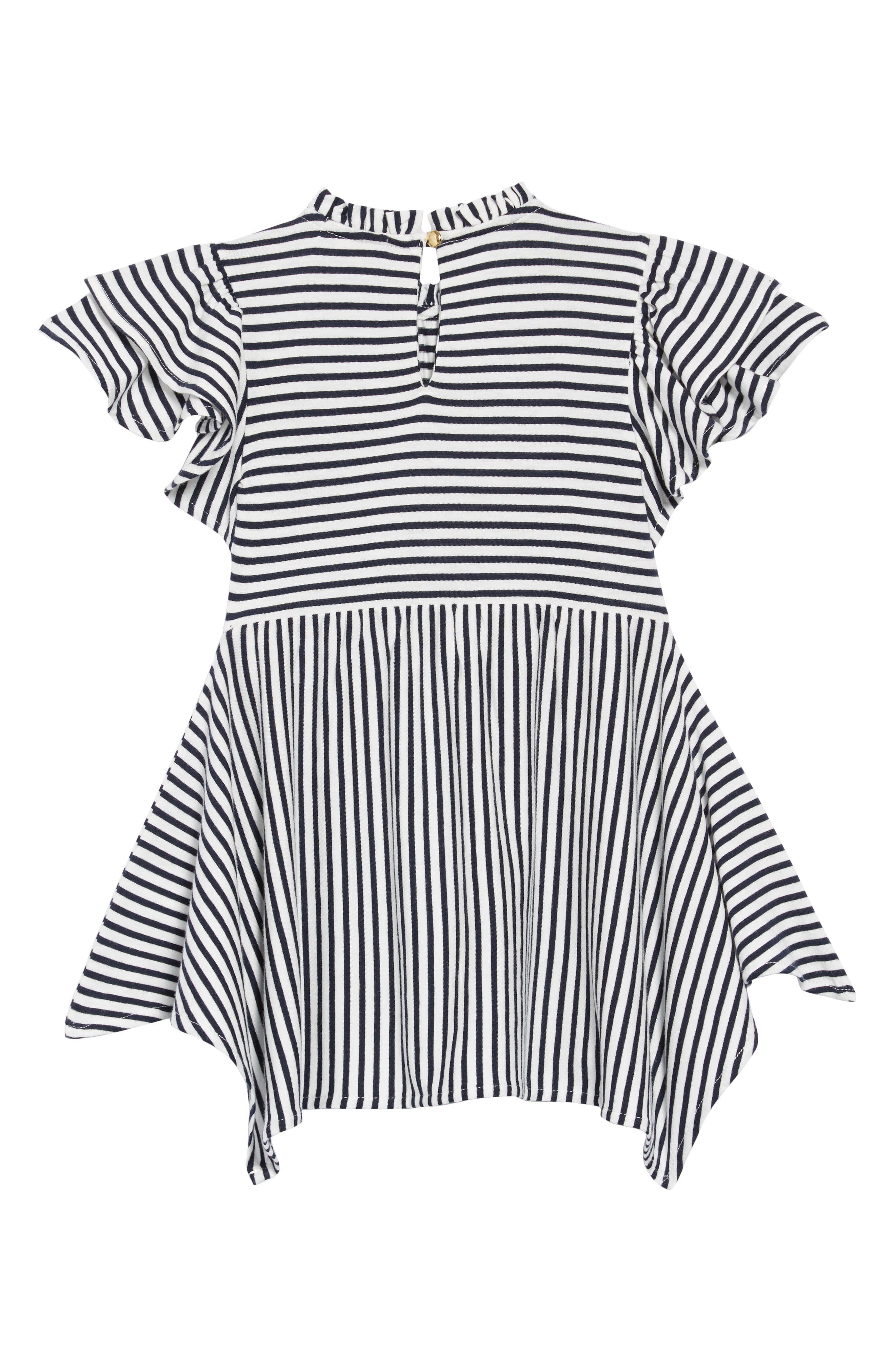 crewcuts by J. Crew Flutter Sleeve Dress,                             Alternate thumbnail 2, color,                             NAVY /WHITE