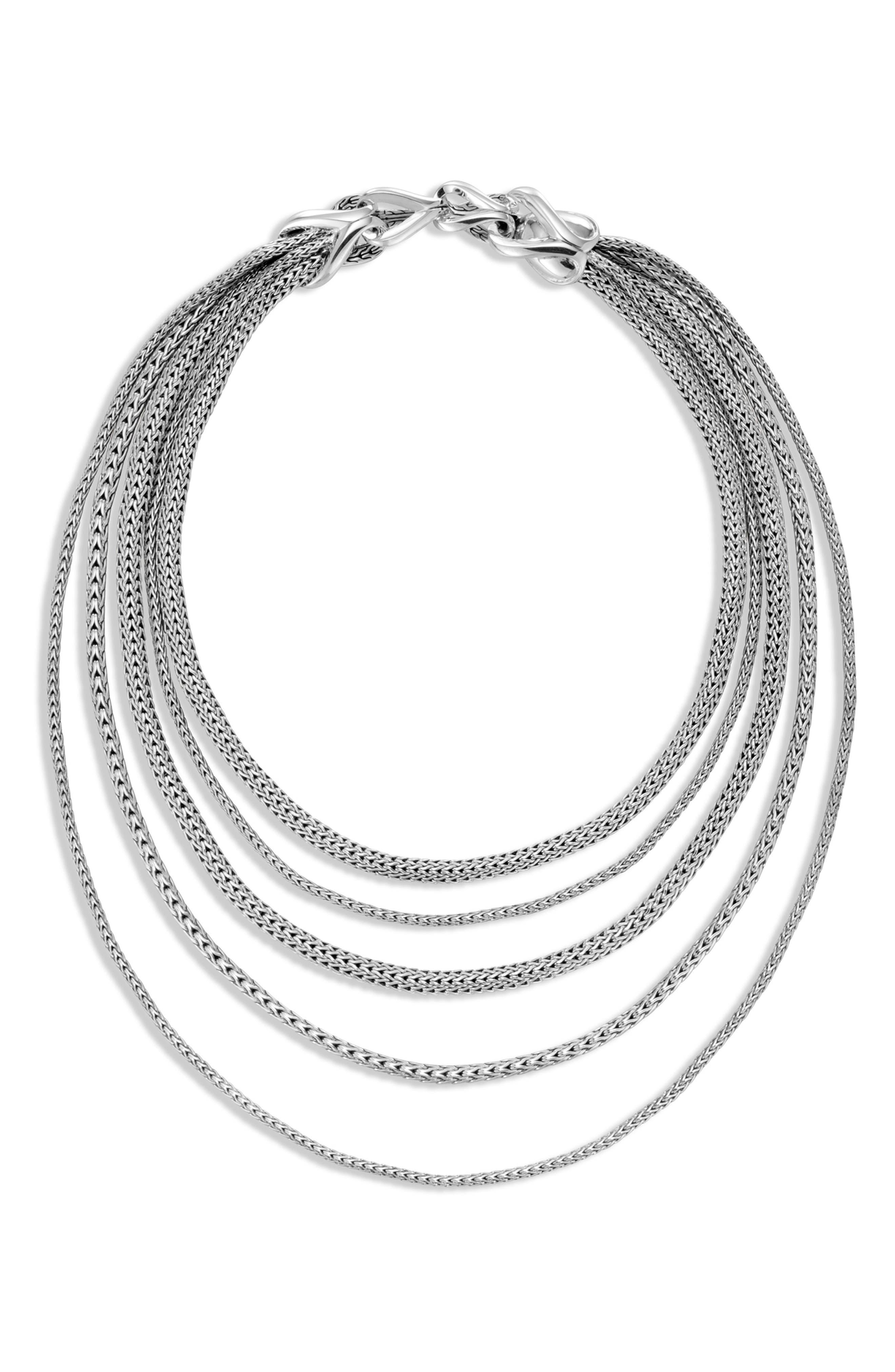 Asli Classic Chain Link Bib Necklace,                             Alternate thumbnail 2, color,                             SILVER
