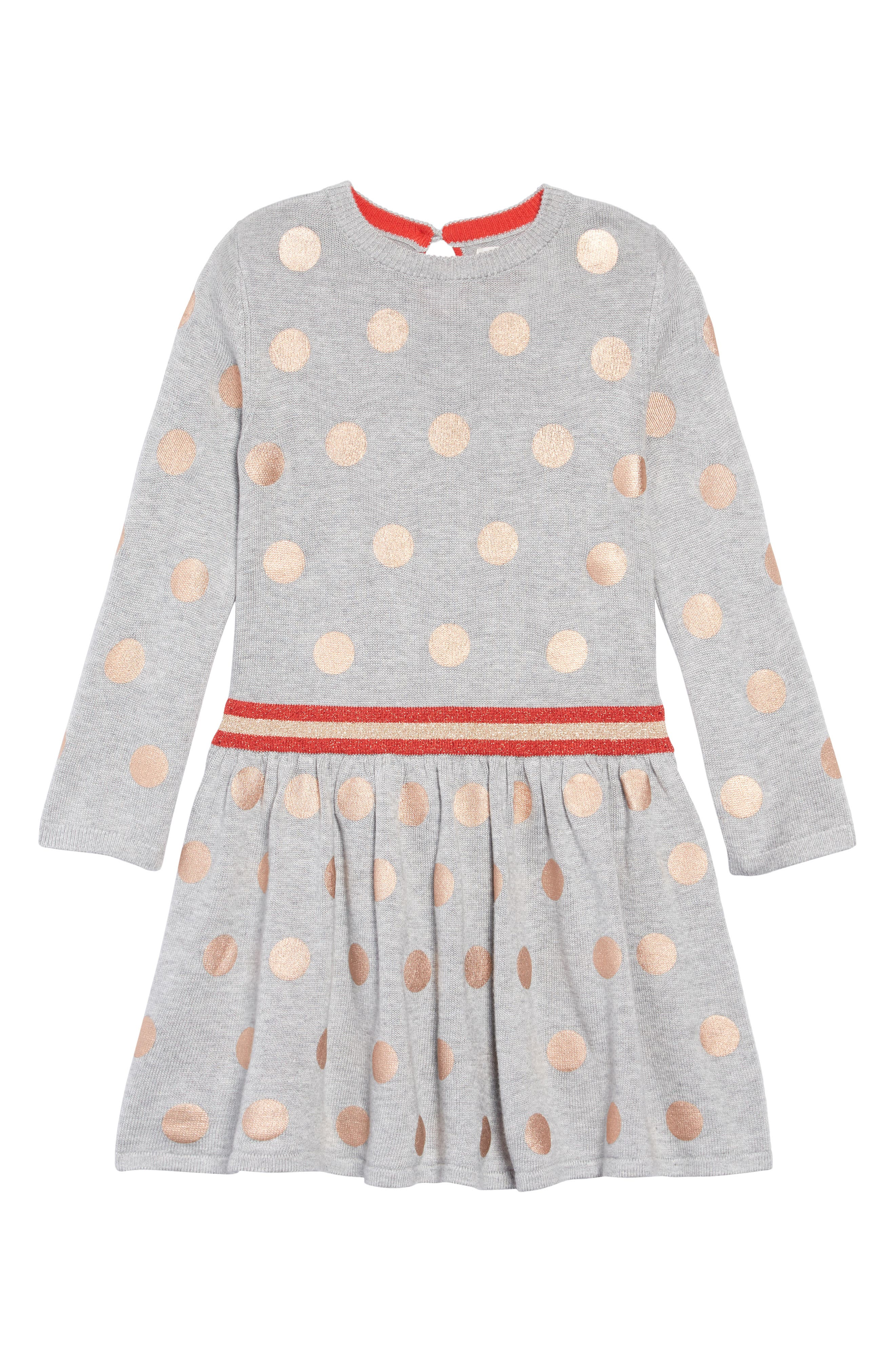 Mini Boden Foil Spot Knit Dress,                         Main,                         color, GRY GREY MARL FOIL SPOTS