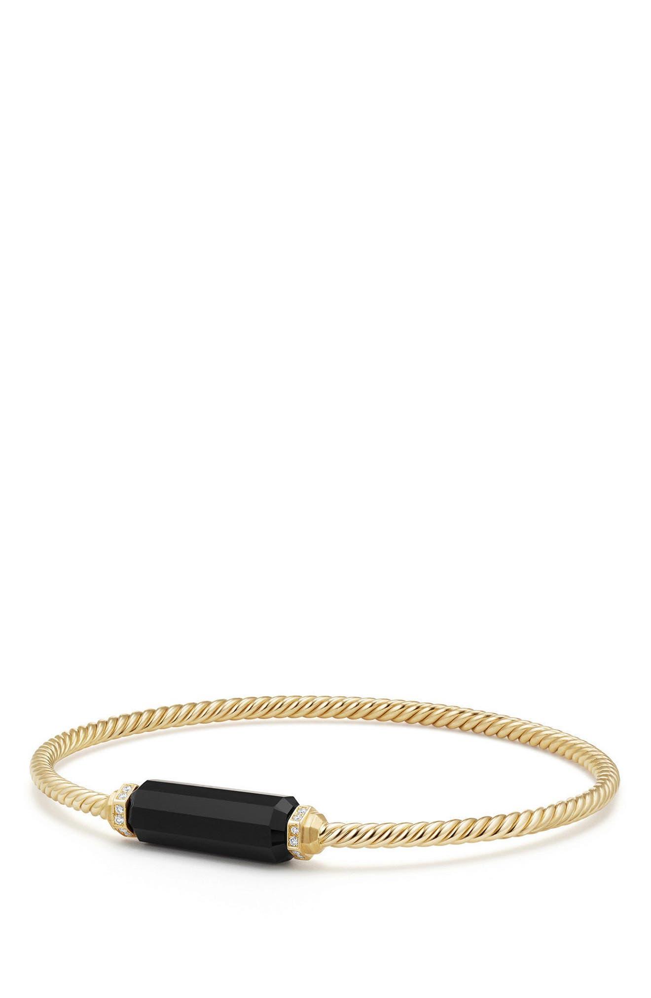 Barrels Bracelet with Diamonds in 18K Gold,                         Main,                         color, BLACK ONYX