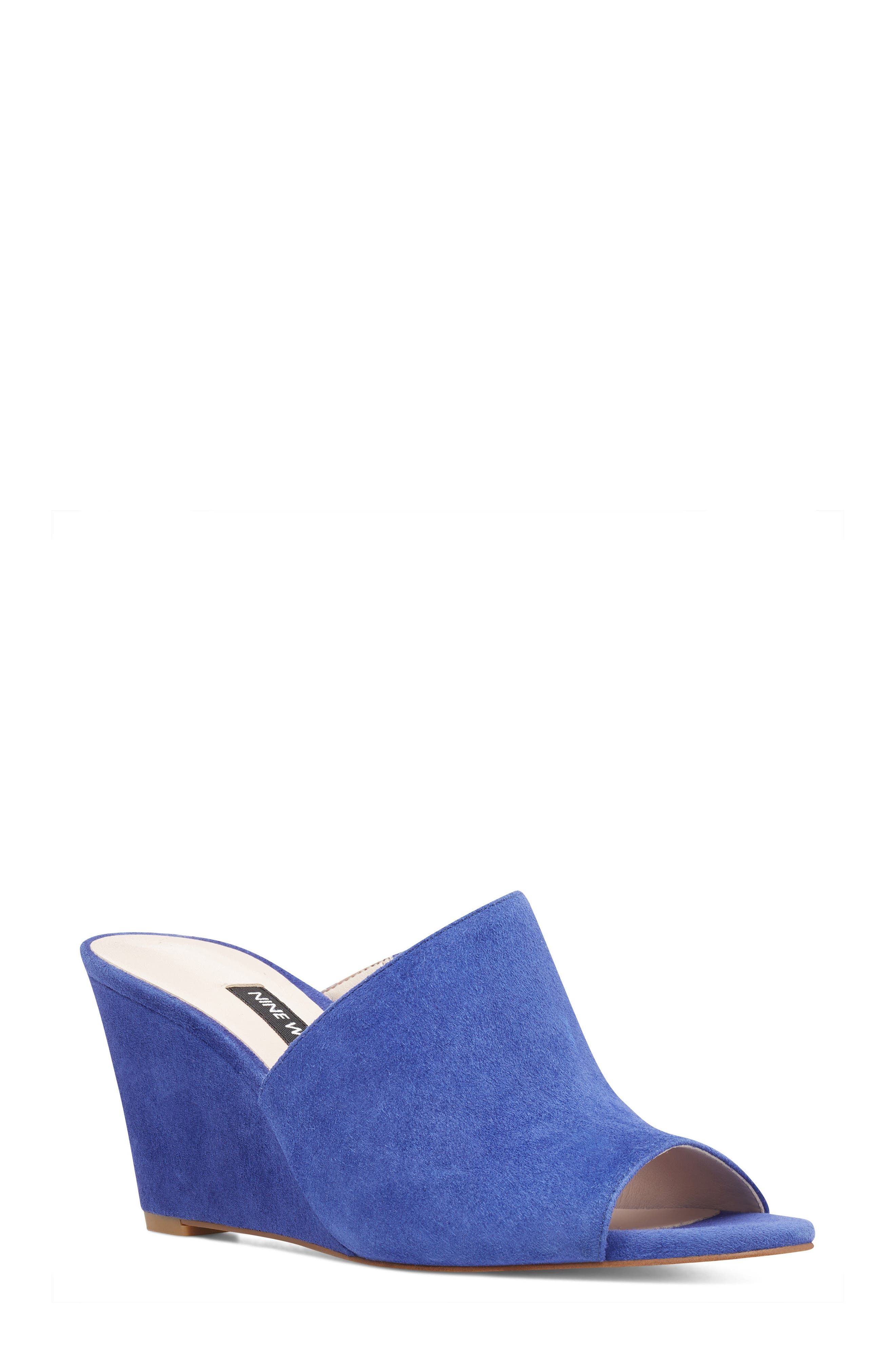 Janissah Wedge,                             Main thumbnail 1, color,                             DARK BLUE SUEDE