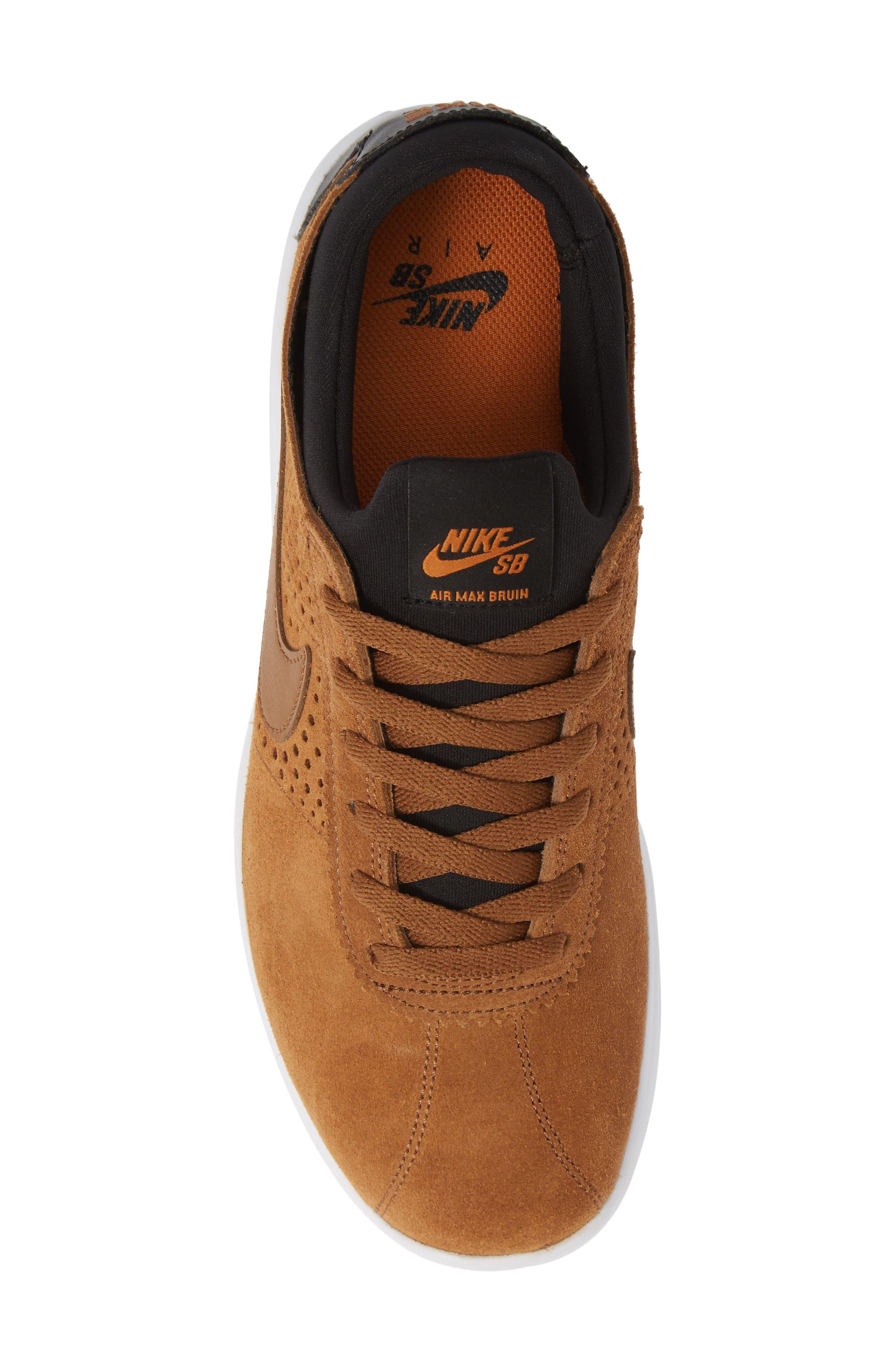 SB Air Max Bruin Vapor Skateboarding Sneaker,                             Alternate thumbnail 5, color,                             BRITISH TAN/ BLACK/ MONARCH