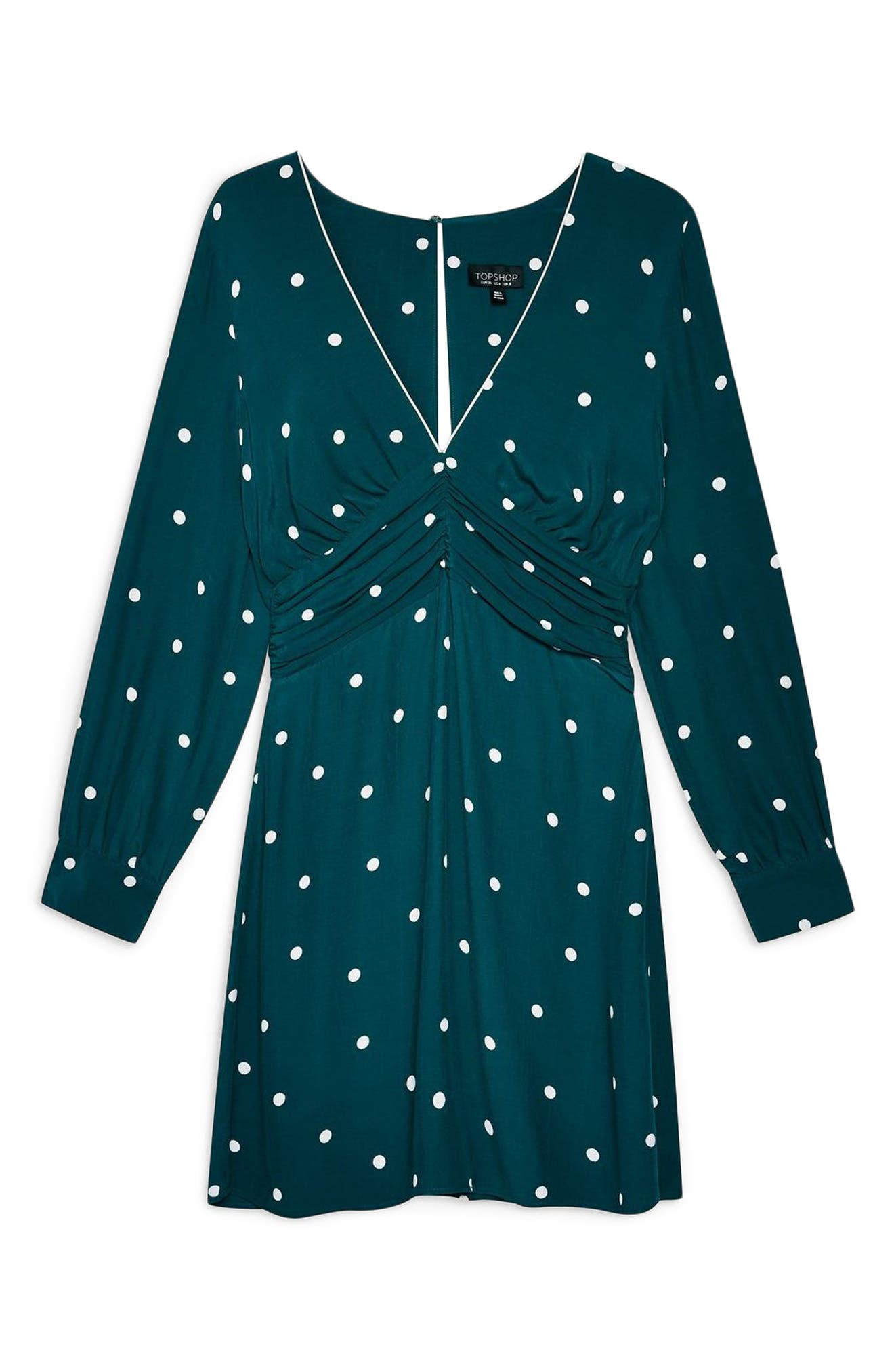 Spot Ruched Dress,                             Alternate thumbnail 3, color,                             TEAL MULTI