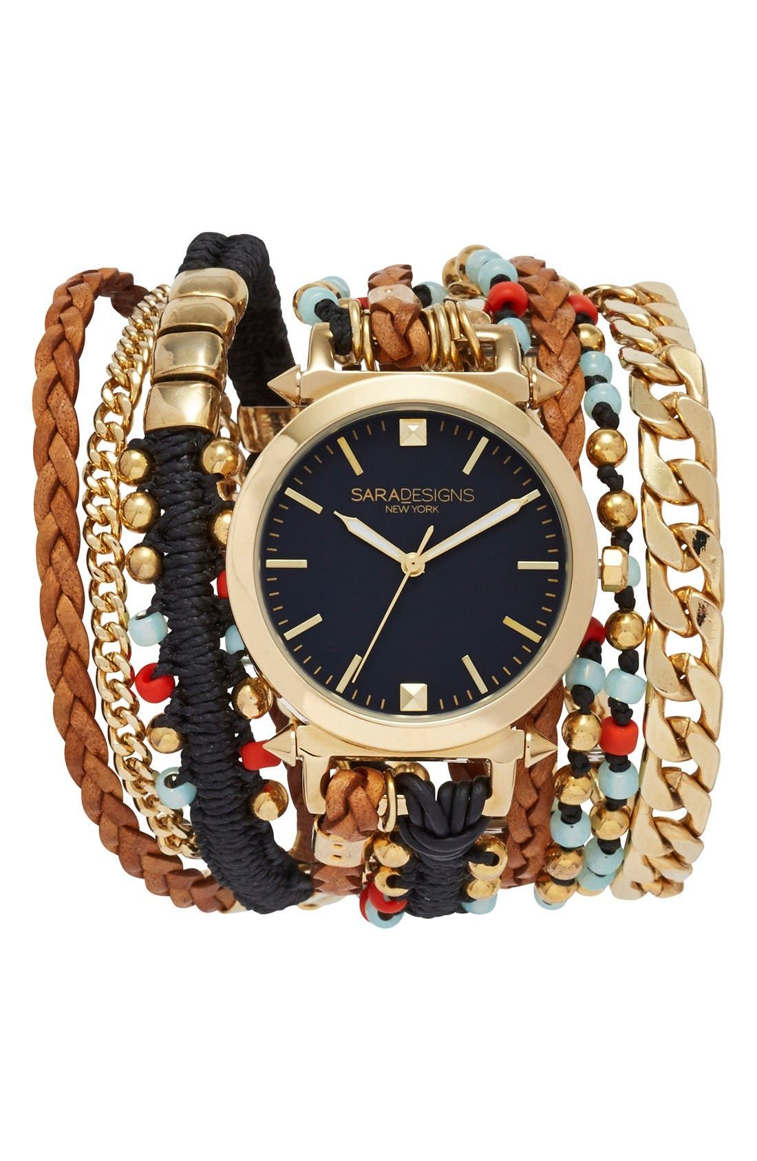 Bead & Chain Leather Wrap Watch, 33mm, Main, color, 001