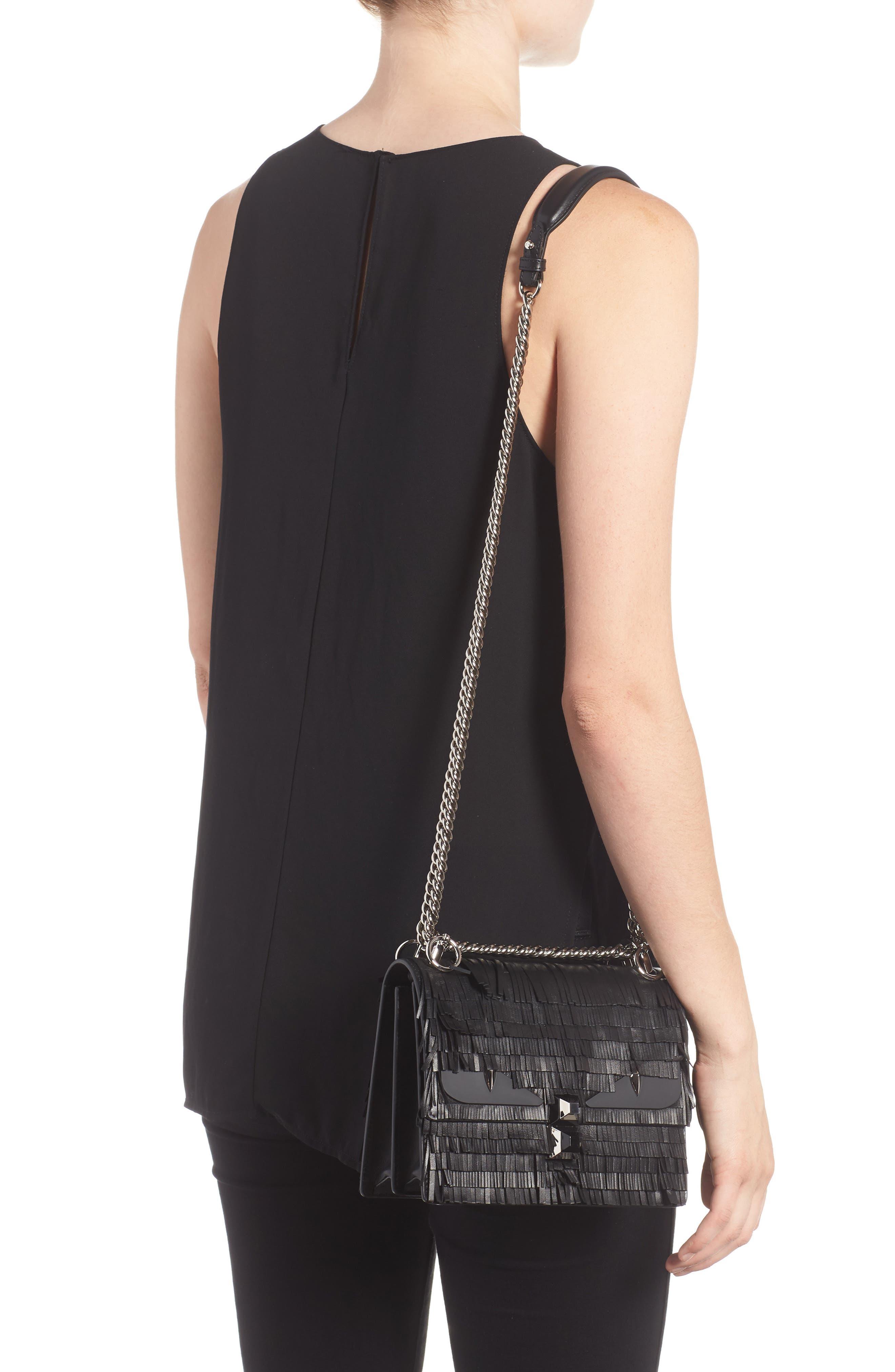 Small Kan I Fringe Monster Calfskin Shoulder Bag,                             Alternate thumbnail 2, color,                             BLACK PALLADIUM
