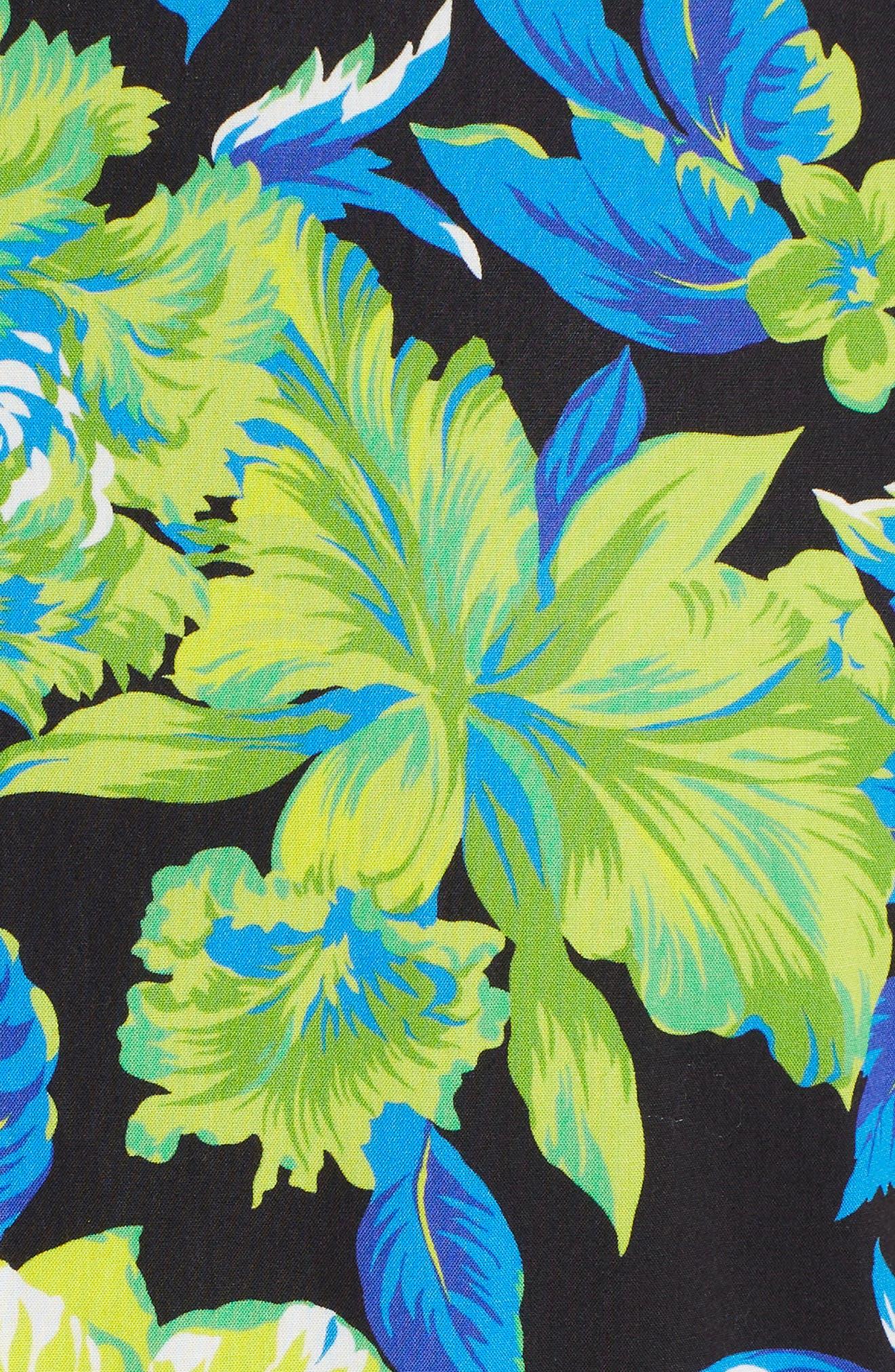 Floral Print A-Line Dress,                             Alternate thumbnail 5, color,                             009