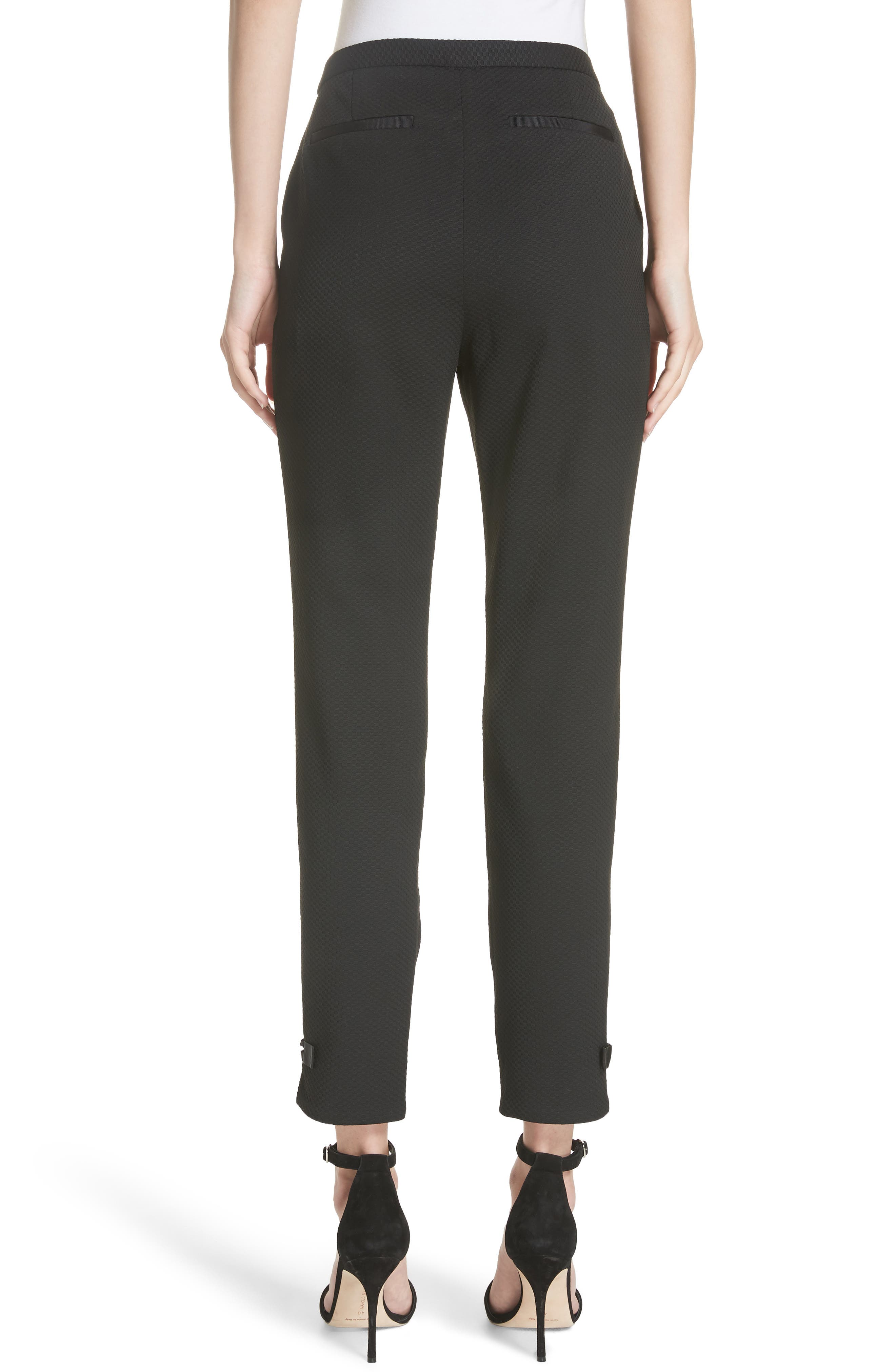 Ted Working Title Nadaet Bow Detail Textured Trousers,                             Alternate thumbnail 2, color,                             BLACK