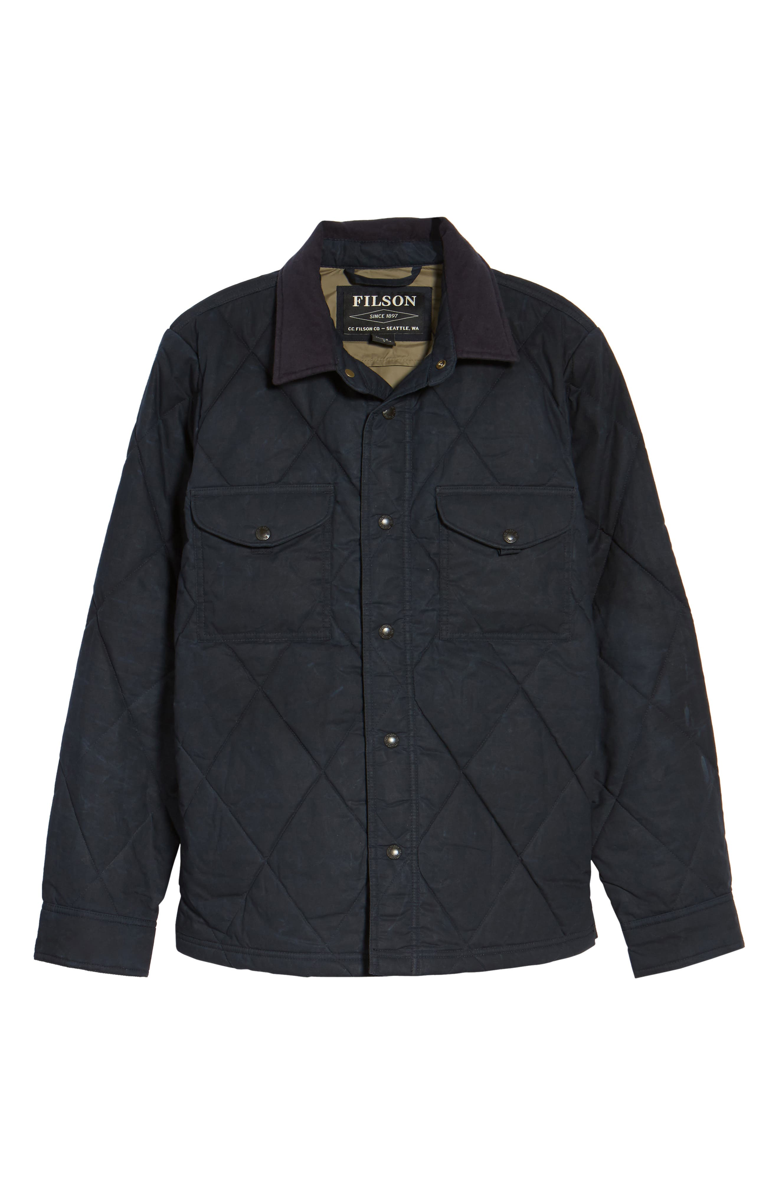 Hyder Quilted Water-Repellent Shirt Jacket,                             Alternate thumbnail 5, color,                             FADED NAVY