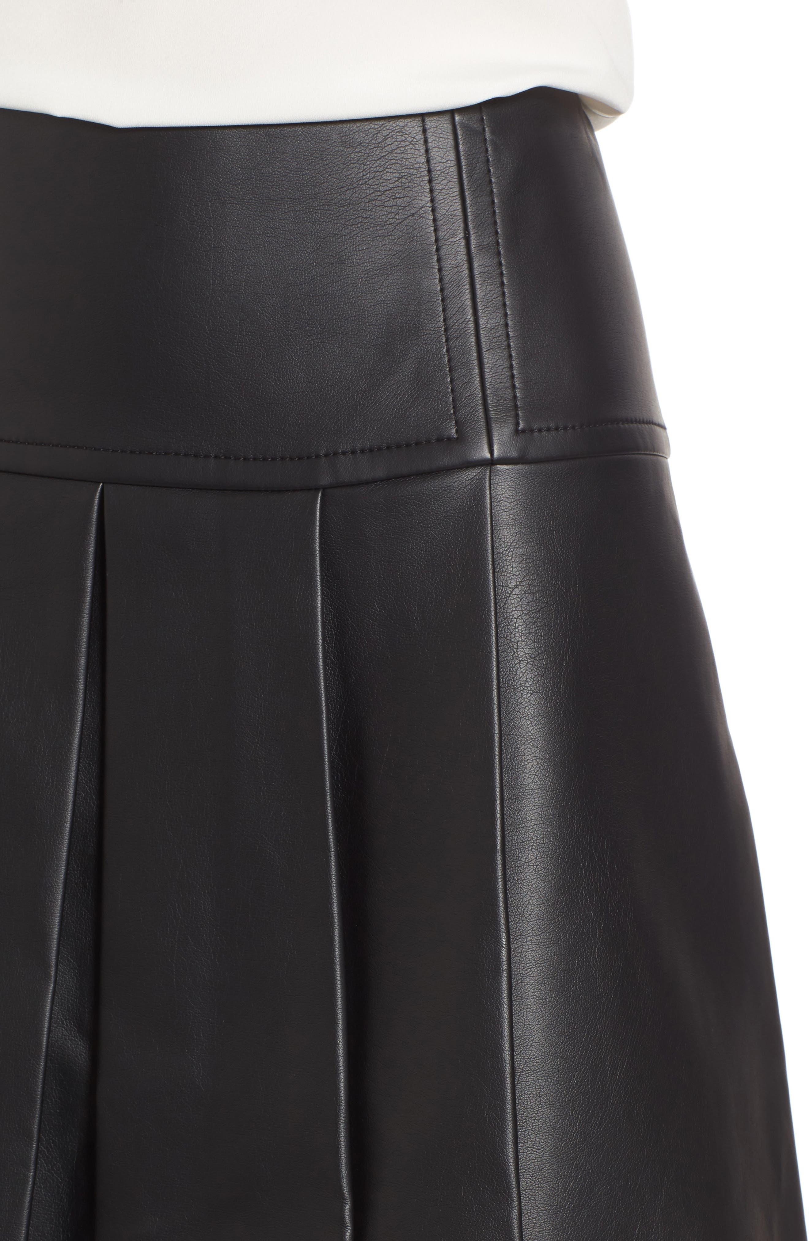 Pleat Faux Leather Skirt,                             Alternate thumbnail 4, color,                             001