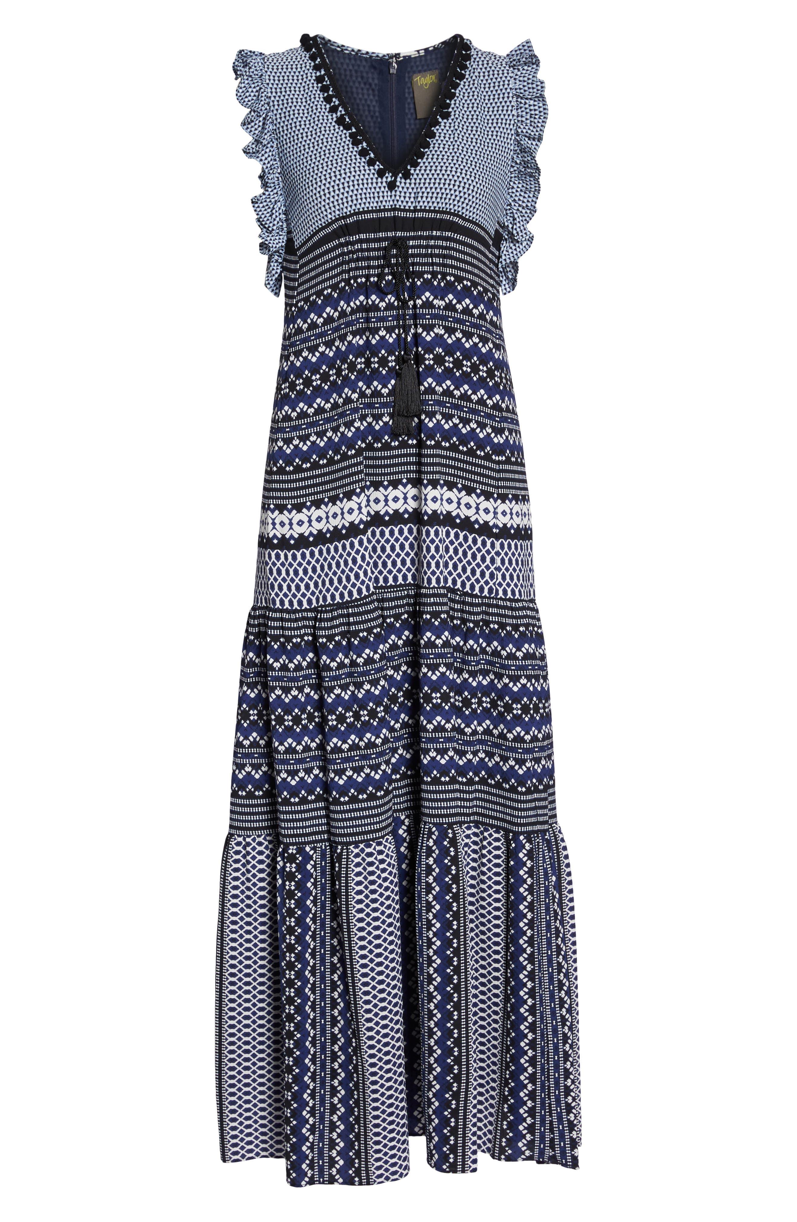 Mixed Print Ruffle Maxi Dress,                             Alternate thumbnail 7, color,