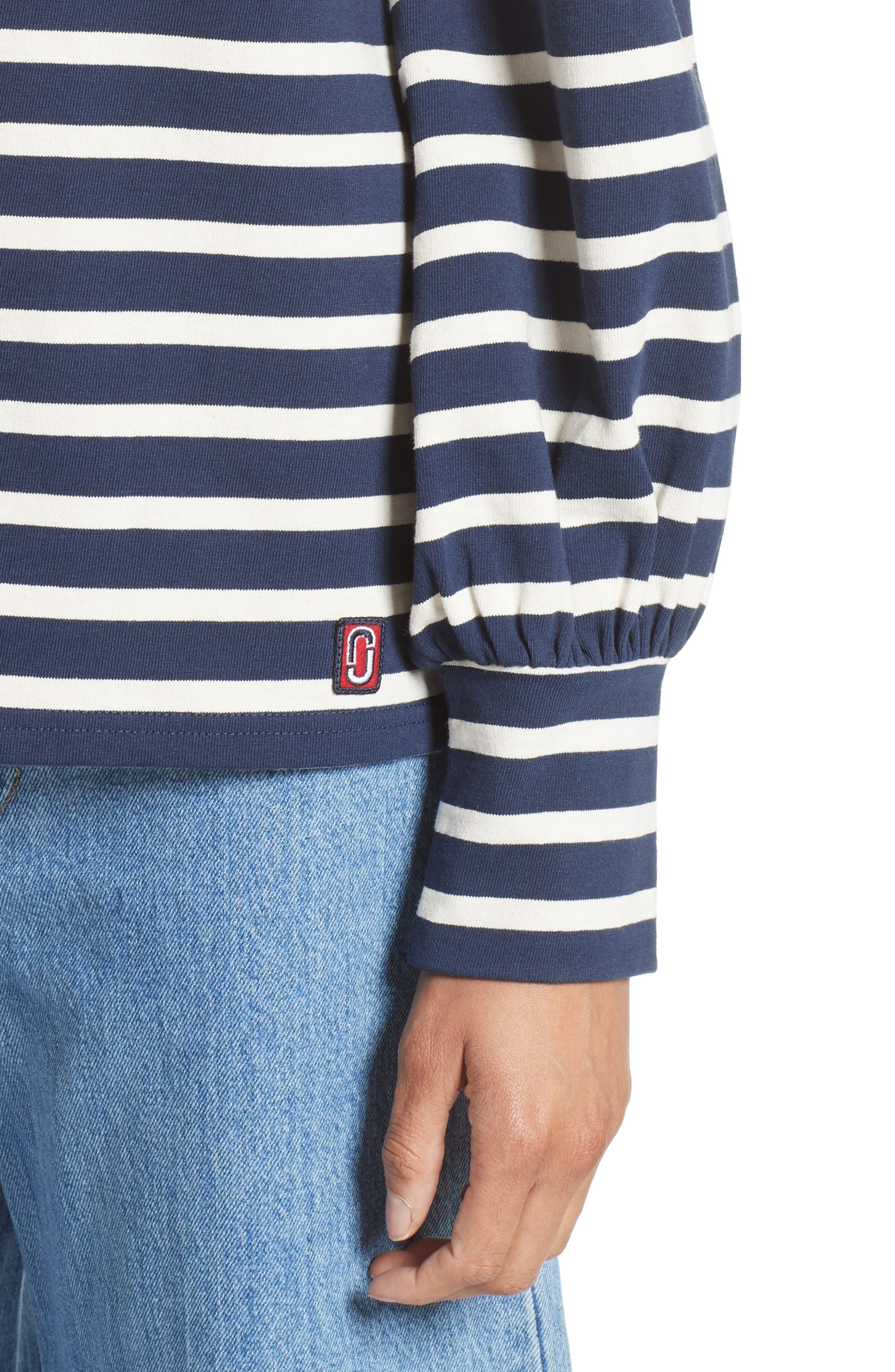 Reverse Breton Stripe Bell Sleeve Top,                             Alternate thumbnail 4, color,