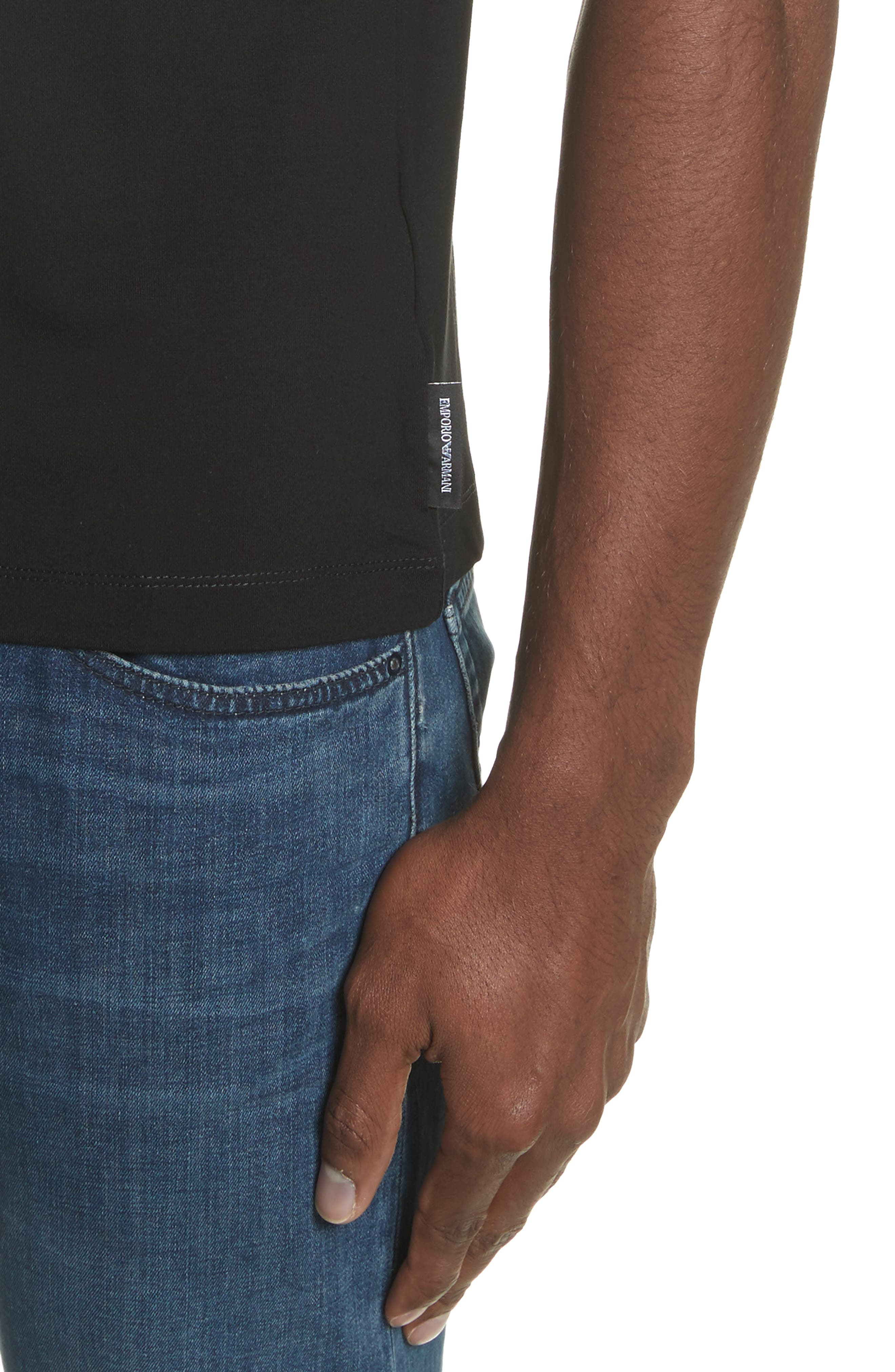 Slim Fit Stretch Crewneck T-Shirt,                             Alternate thumbnail 4, color,                             SOLID BLACK