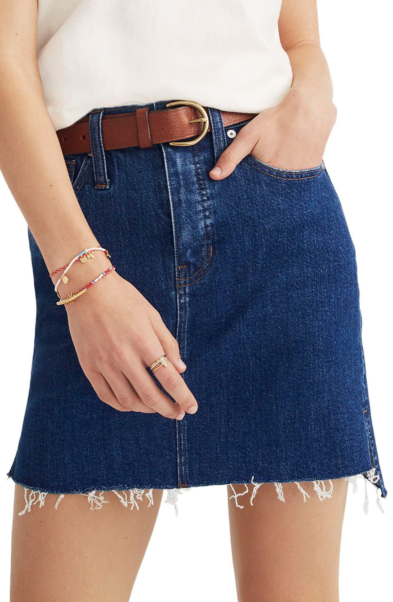 Madewell Straight Step Hem Stretch Denim Skirt, Blue