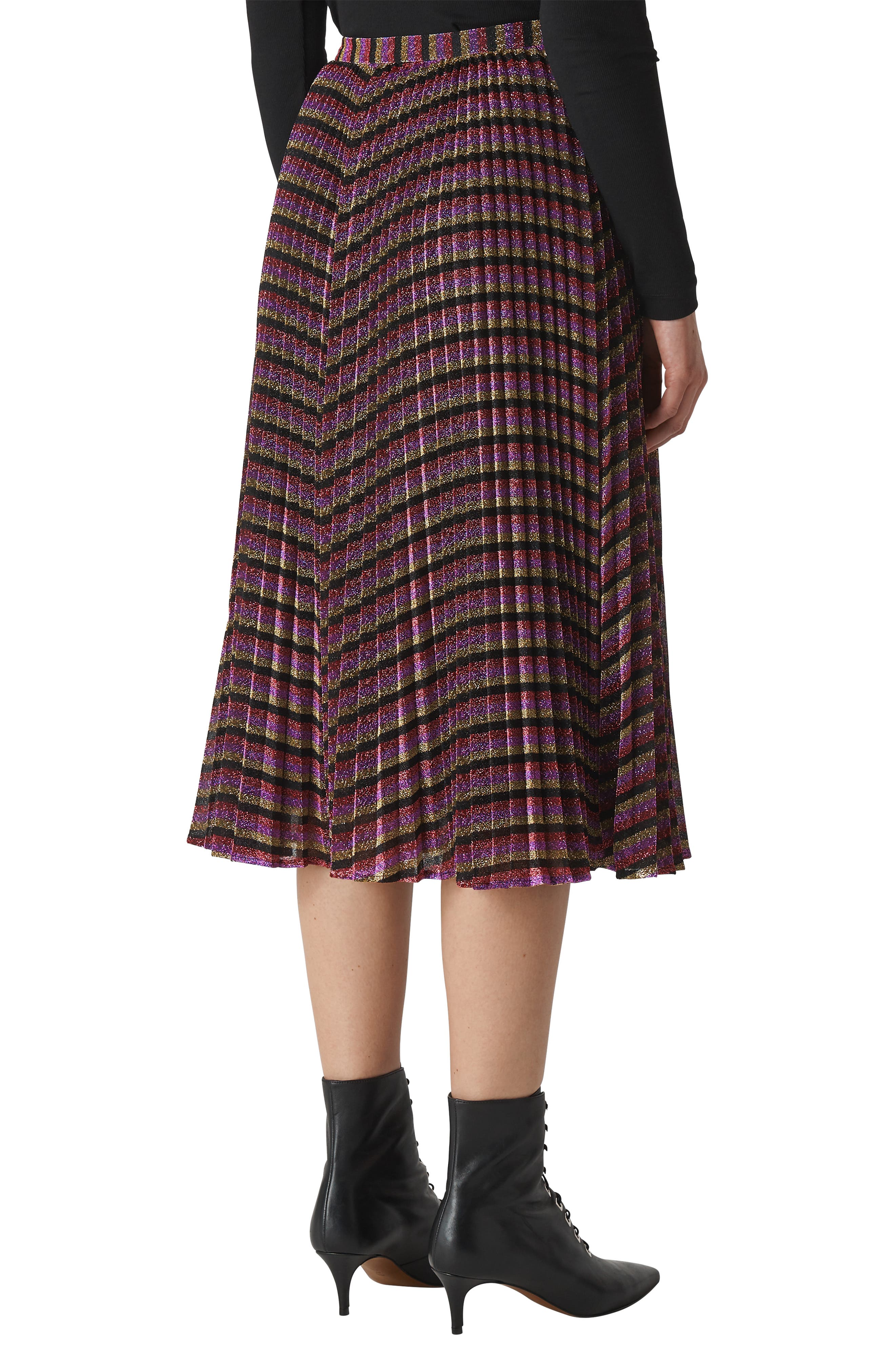 Sparkle Stripe Pleated Skirt,                             Alternate thumbnail 8, color,                             MULTICOLOUR