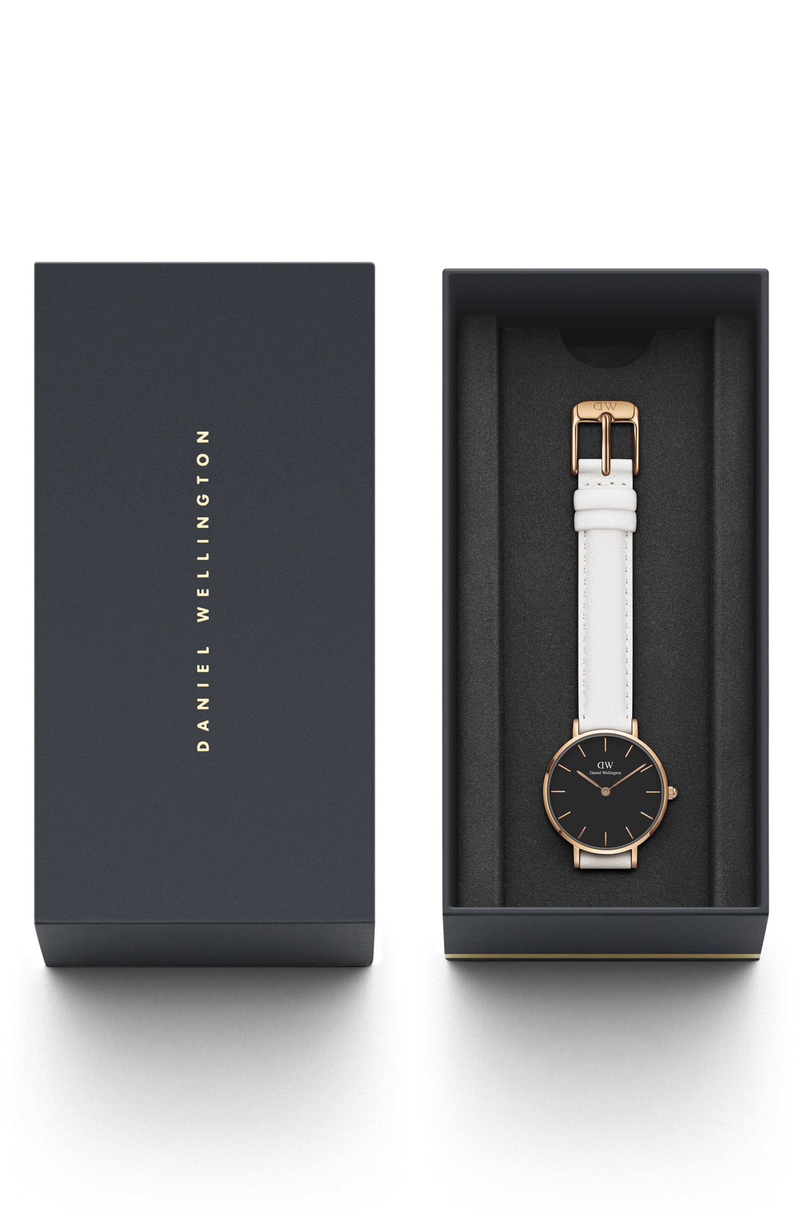 Classic Petite Leather Strap Watch, 28mm,                             Alternate thumbnail 3, color,                             WHITE/ BLACK/ ROSE GOLD