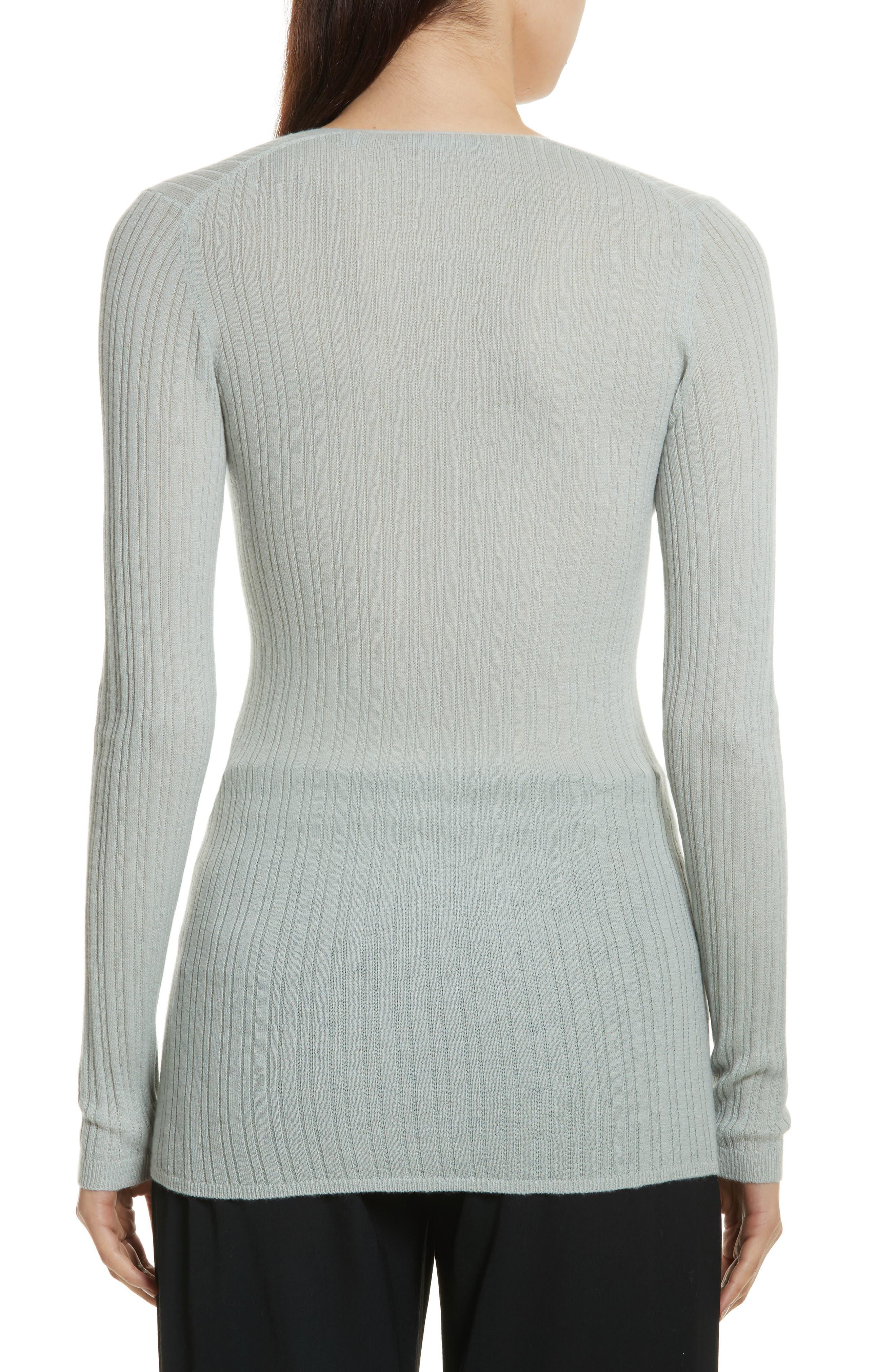 Ribbed Cashmere V-Neck Sweater,                             Alternate thumbnail 6, color,