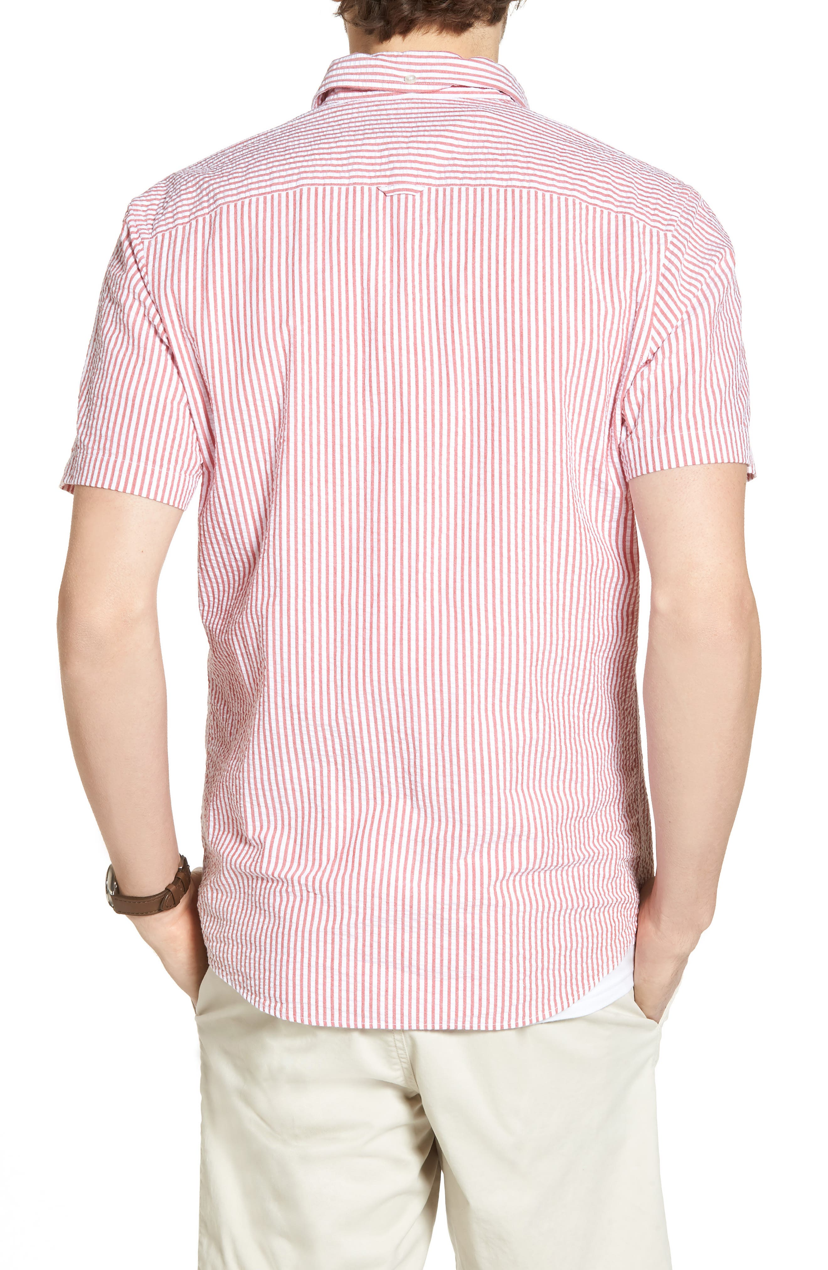 Stripe Seersucker Sport Shirt,                             Alternate thumbnail 6, color,
