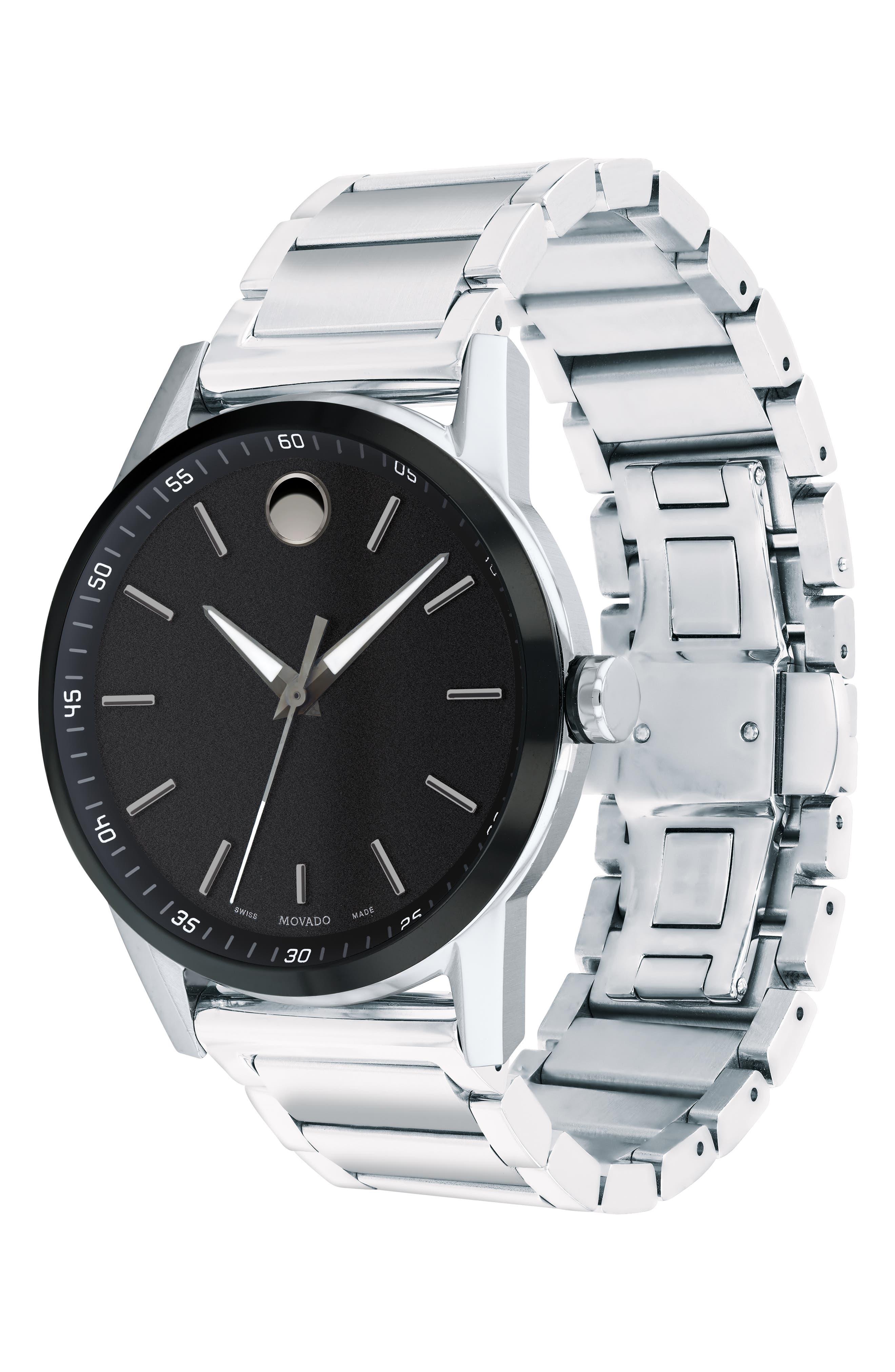 Museum Sport Bracelet Watch, 42mm,                             Alternate thumbnail 3, color,                             SILVER/ BLACK/ SILVER