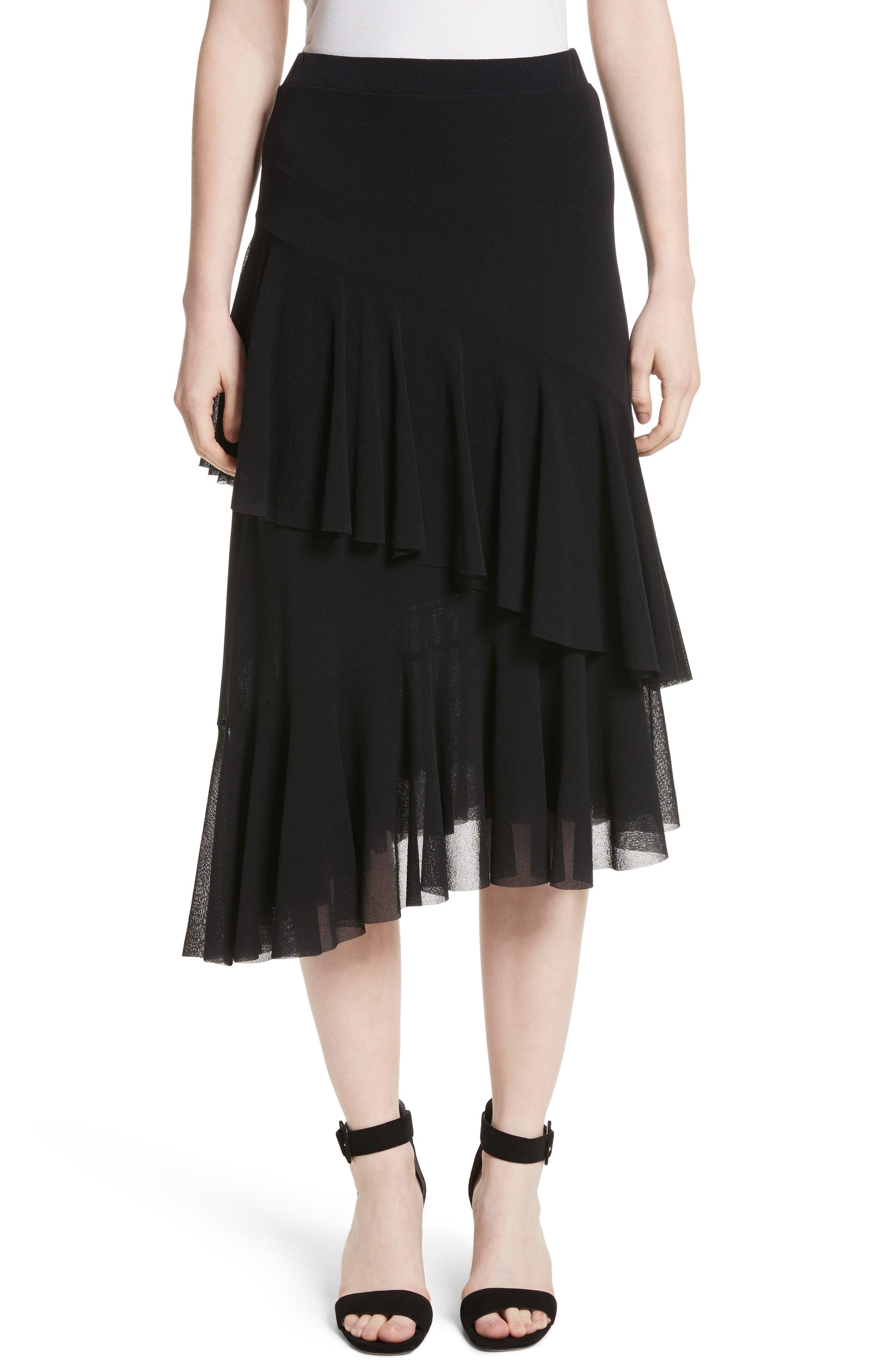 Ruffle Tulle Midi Skirt,                             Main thumbnail 1, color,                             NERO