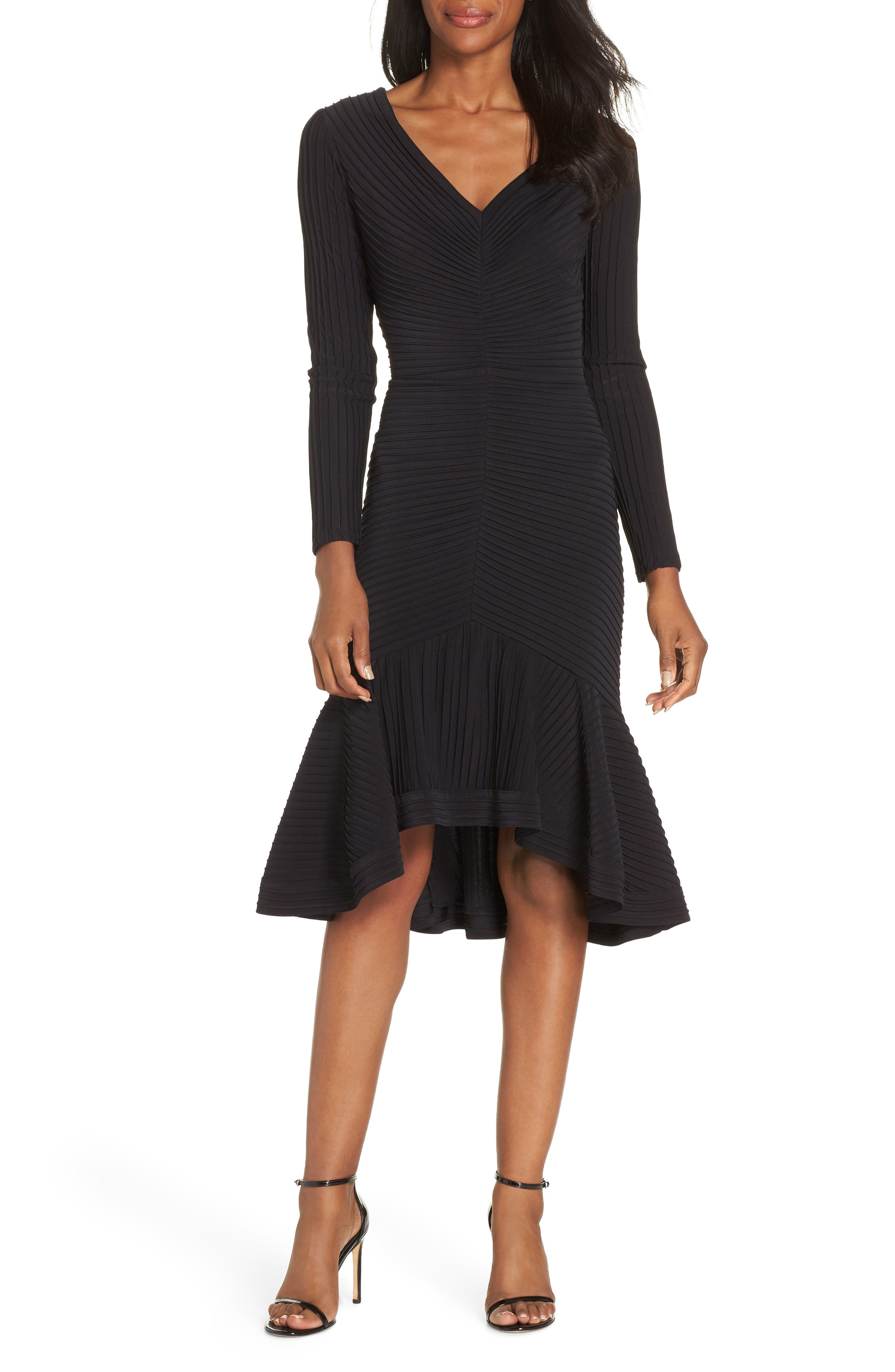 Pintuck High/Low Midi Dress,                             Main thumbnail 1, color,                             BLACK