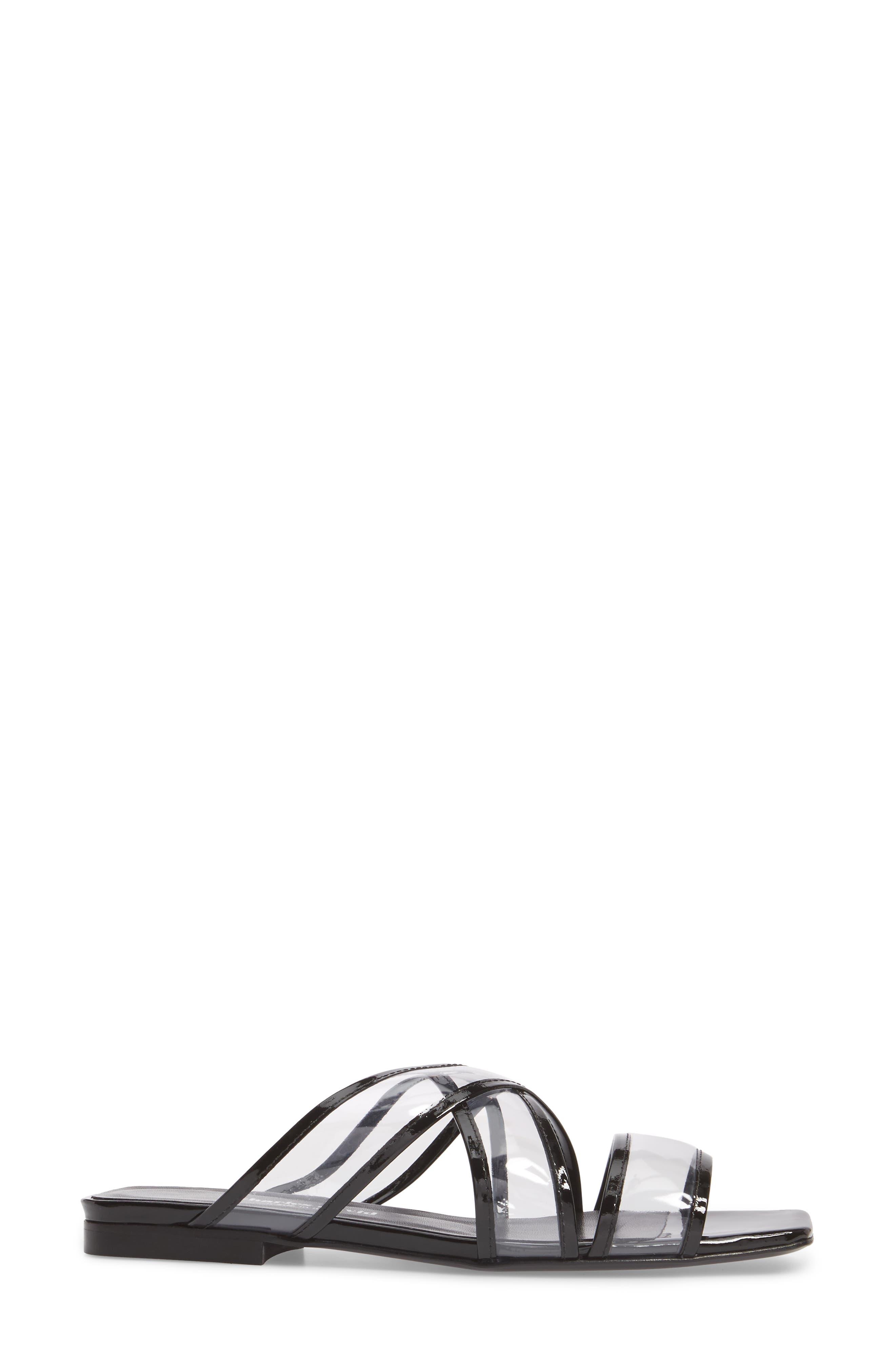 Drea Transparent Strap Slide Sandal,                             Alternate thumbnail 3, color,                             BLACK