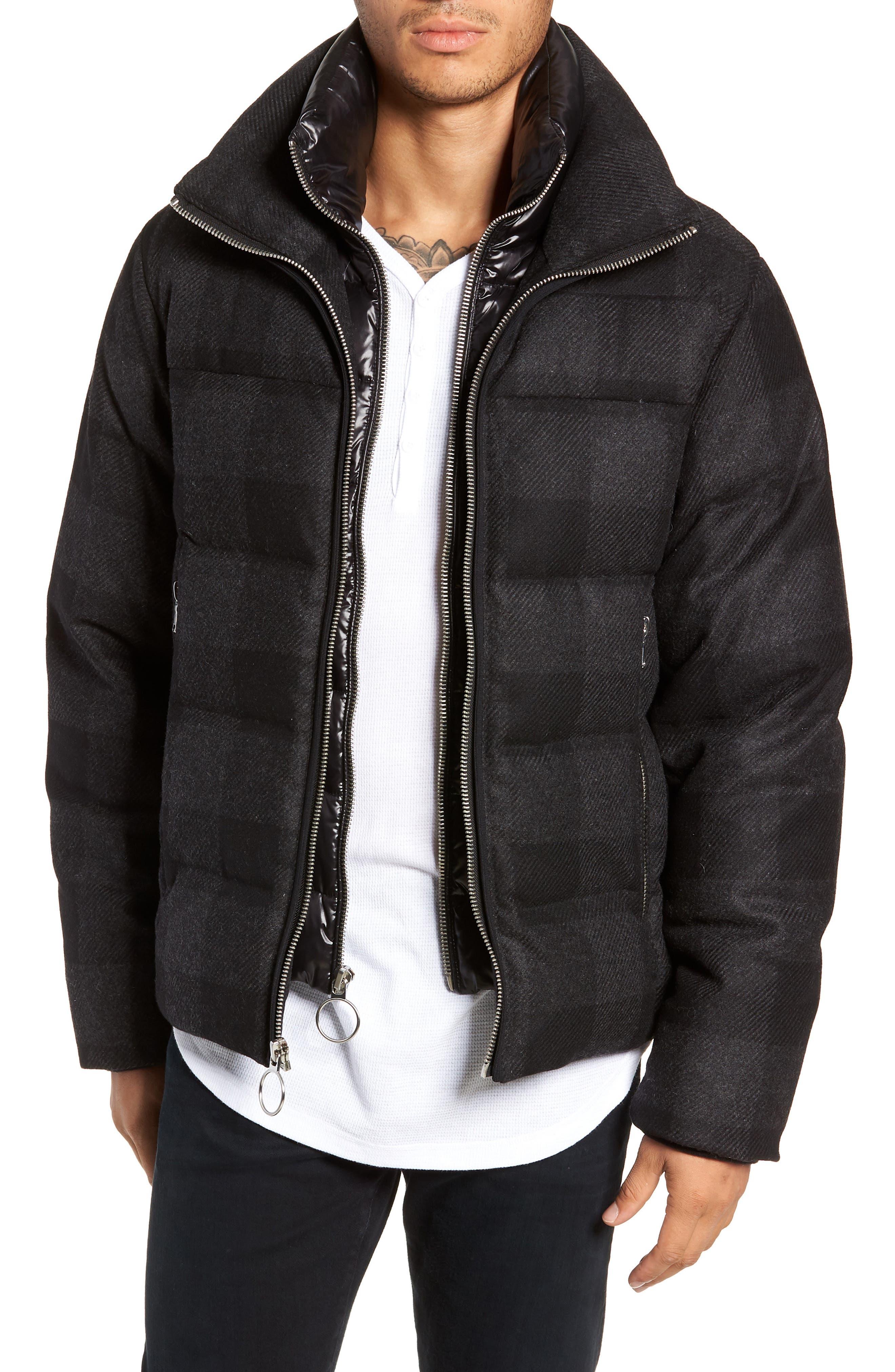 Crosby Plaid Wool Bib Puffer Jacket,                         Main,                         color, CHARCOAL/ BLACK PLAID