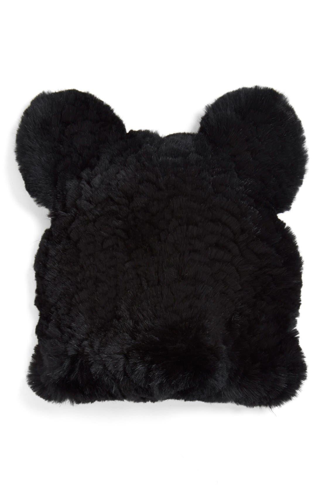 Genuine Rabbit Fur Hat, Main, color, 001