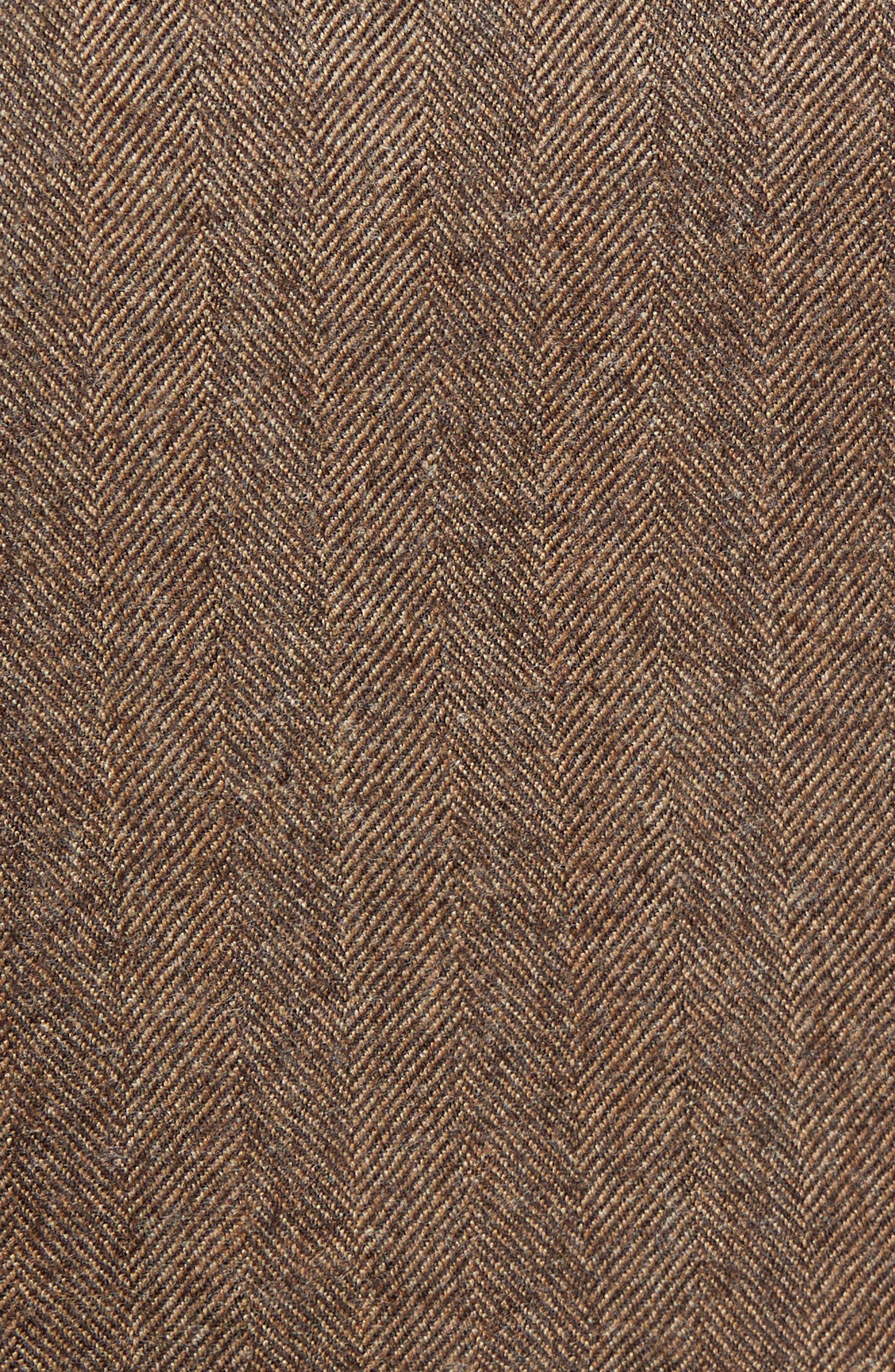 Trim Fit Herringbone Wool Sport Coat,                             Alternate thumbnail 6, color,                             BROWN