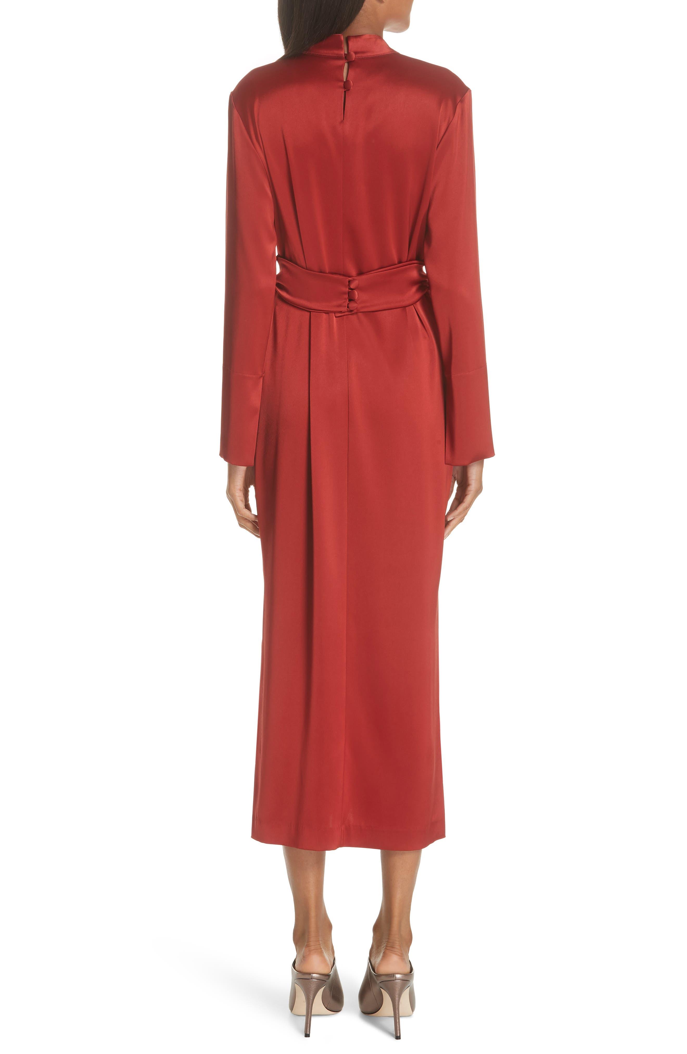 Sadie Belted Satin Dress,                             Alternate thumbnail 2, color,                             640