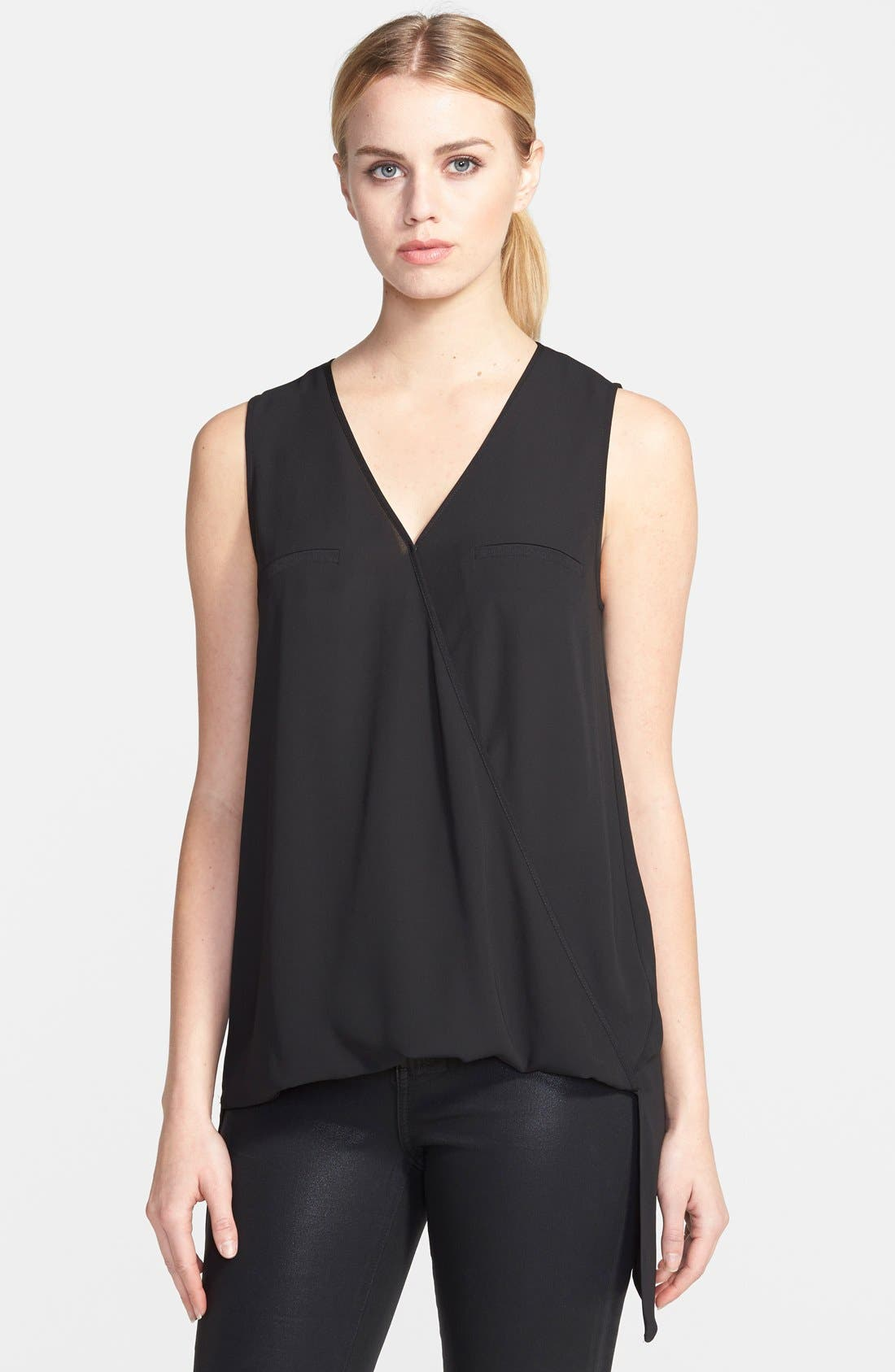 Sleeveless Crossover Blouse, Main, color, 001