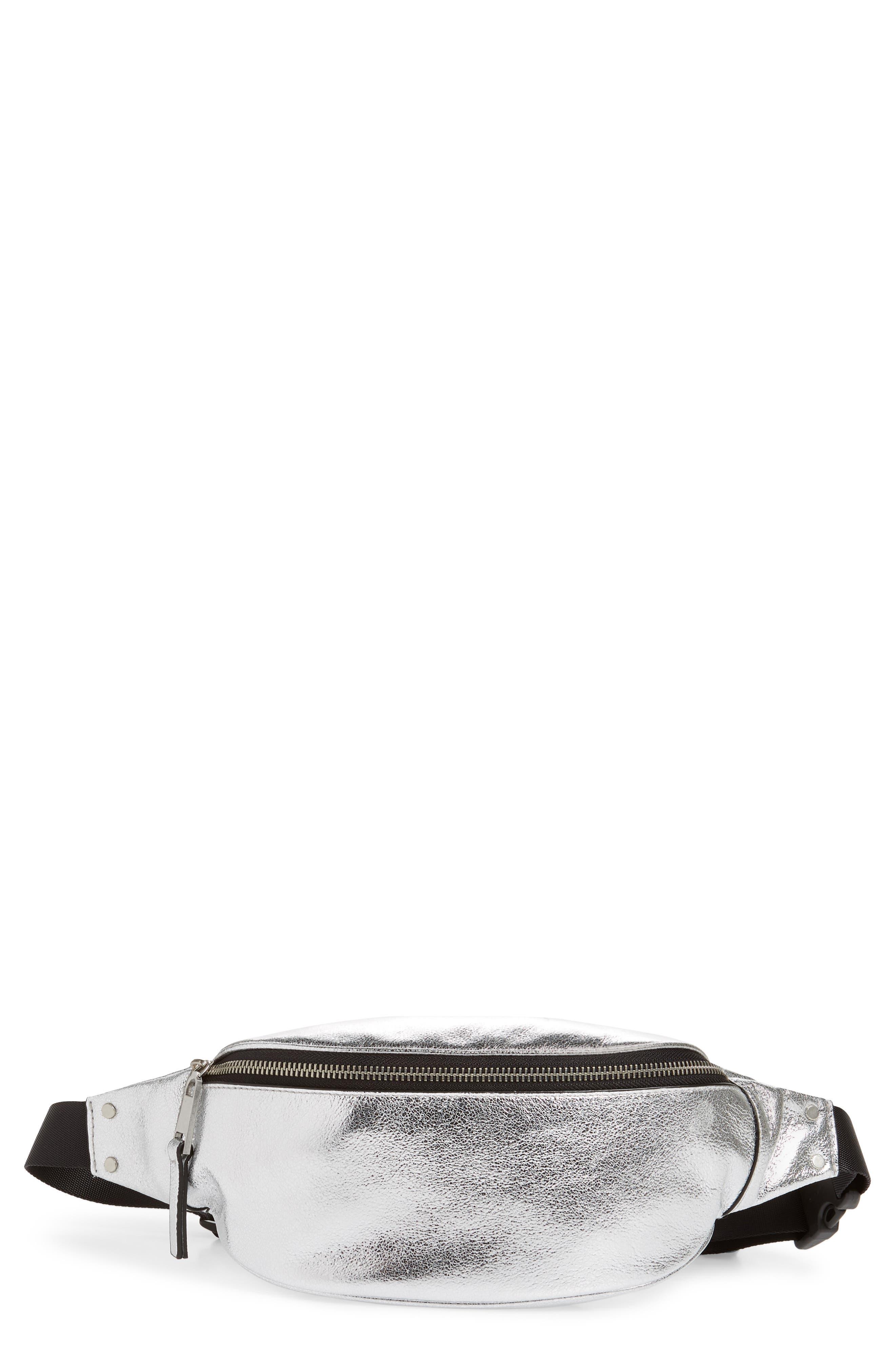 TREASURE & BOND,                             Mason Metallic Leather Belt Bag,                             Main thumbnail 1, color,                             SILVER