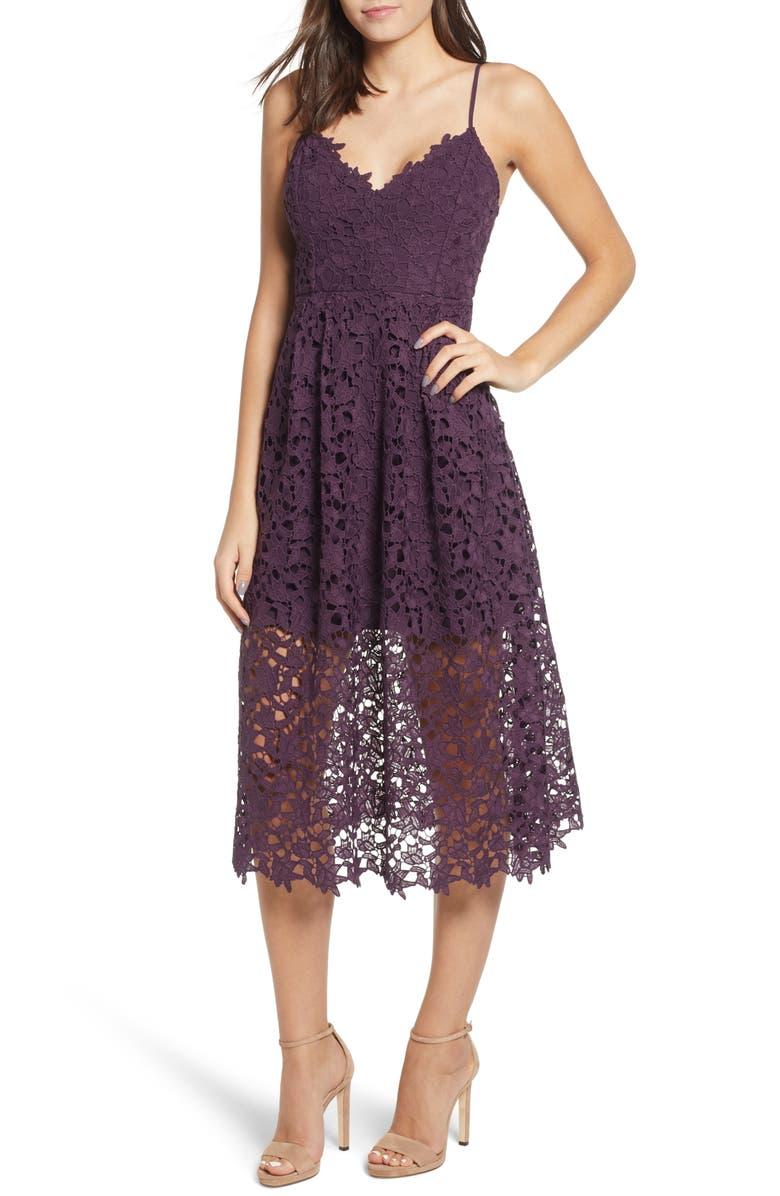 3e04f4f9006e Astr Lace Midi Dress In Deep Purple