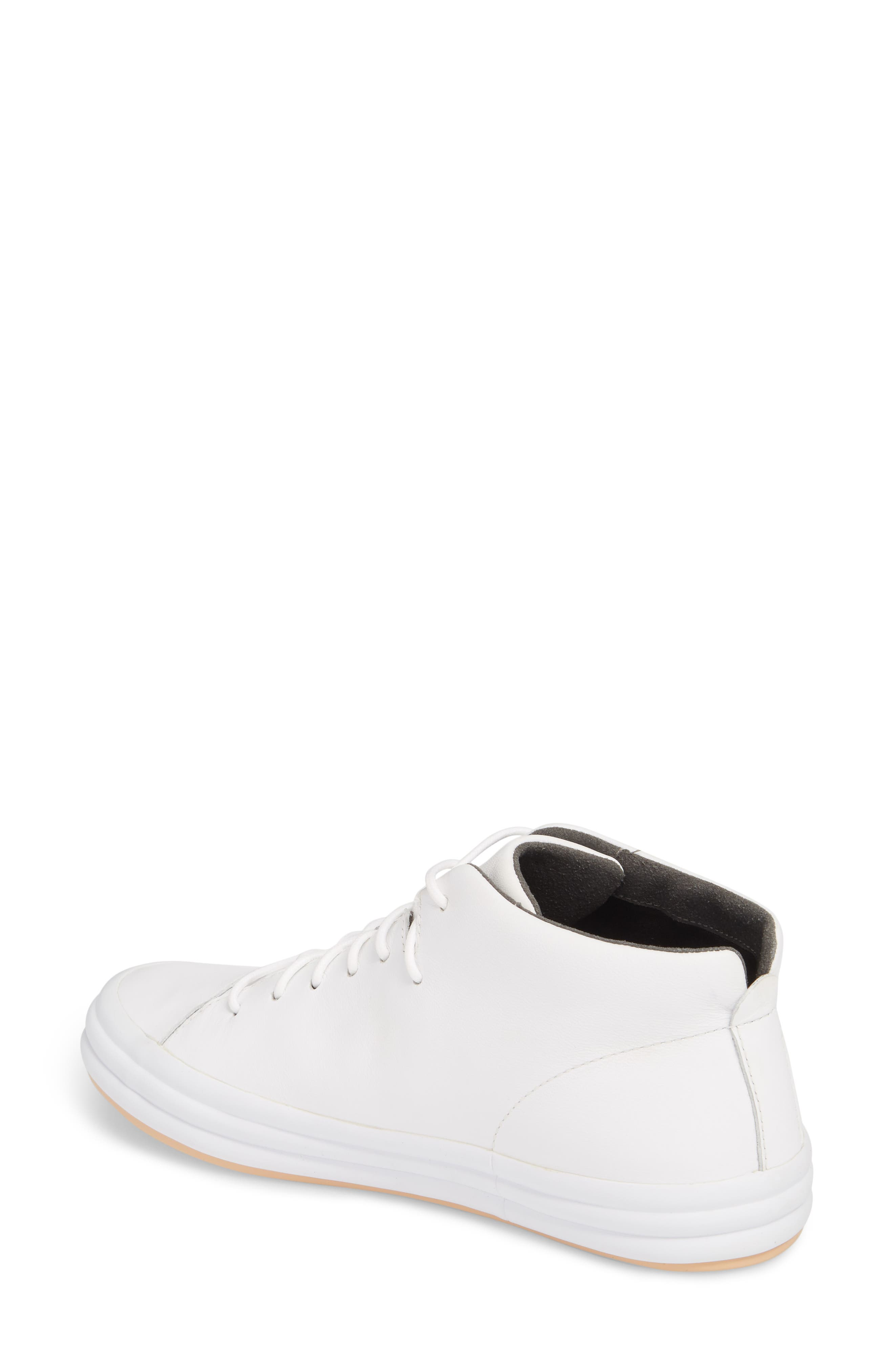 Hoops Mid Top Sneaker,                             Alternate thumbnail 2, color,                             WHITE NATURAL LEATHER