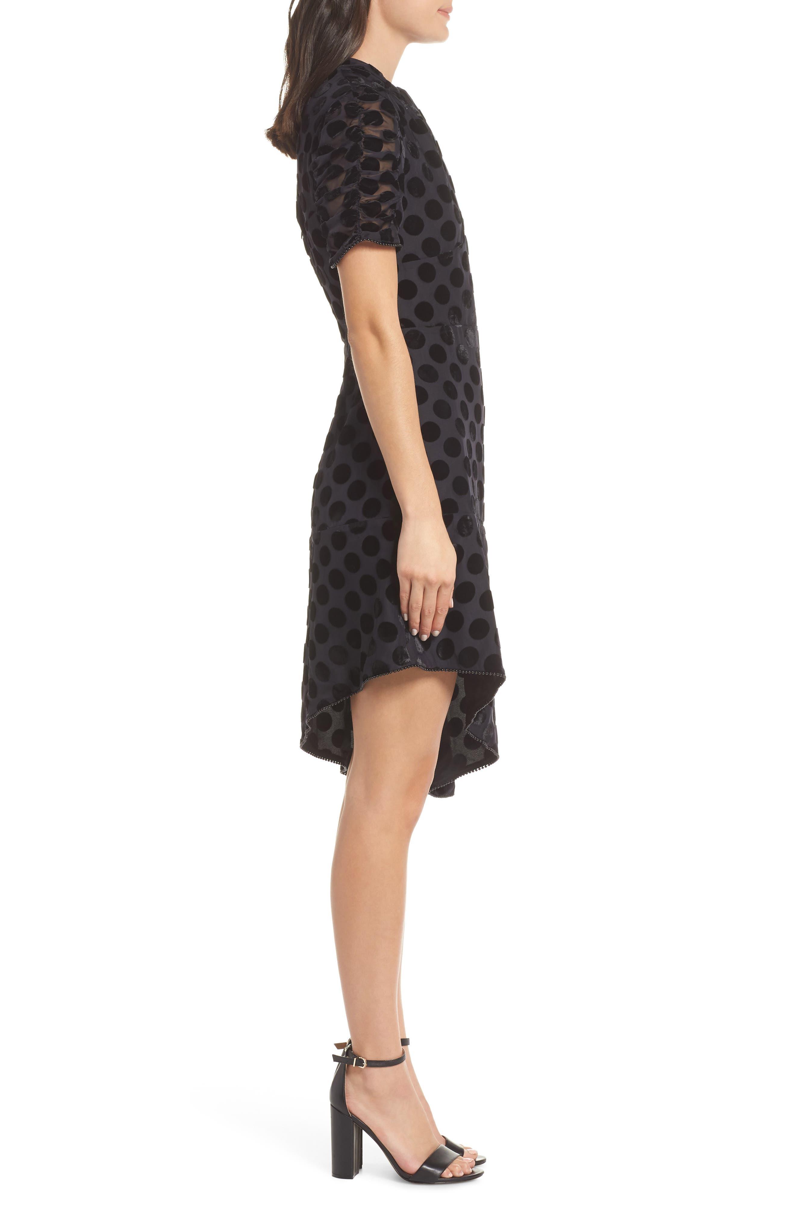 Asymmetrical Velvet Dot Dress,                             Alternate thumbnail 3, color,                             BLACK